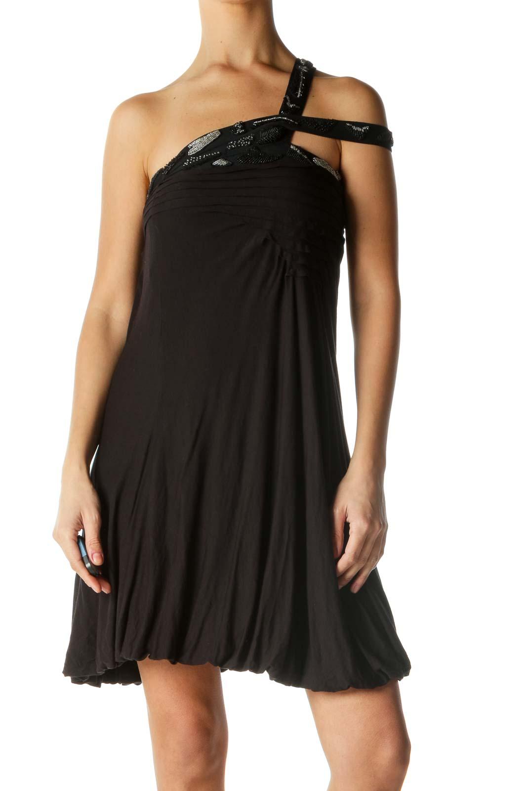 Black Embellished Neckline Dress Front