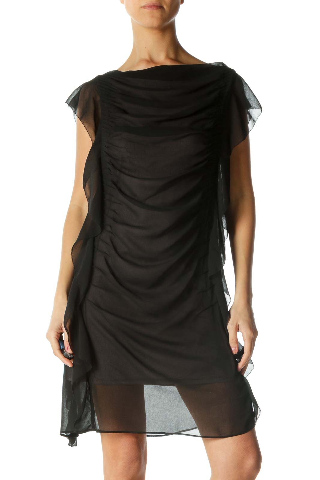 Black and Purple Sheer Ruffled Dress Front