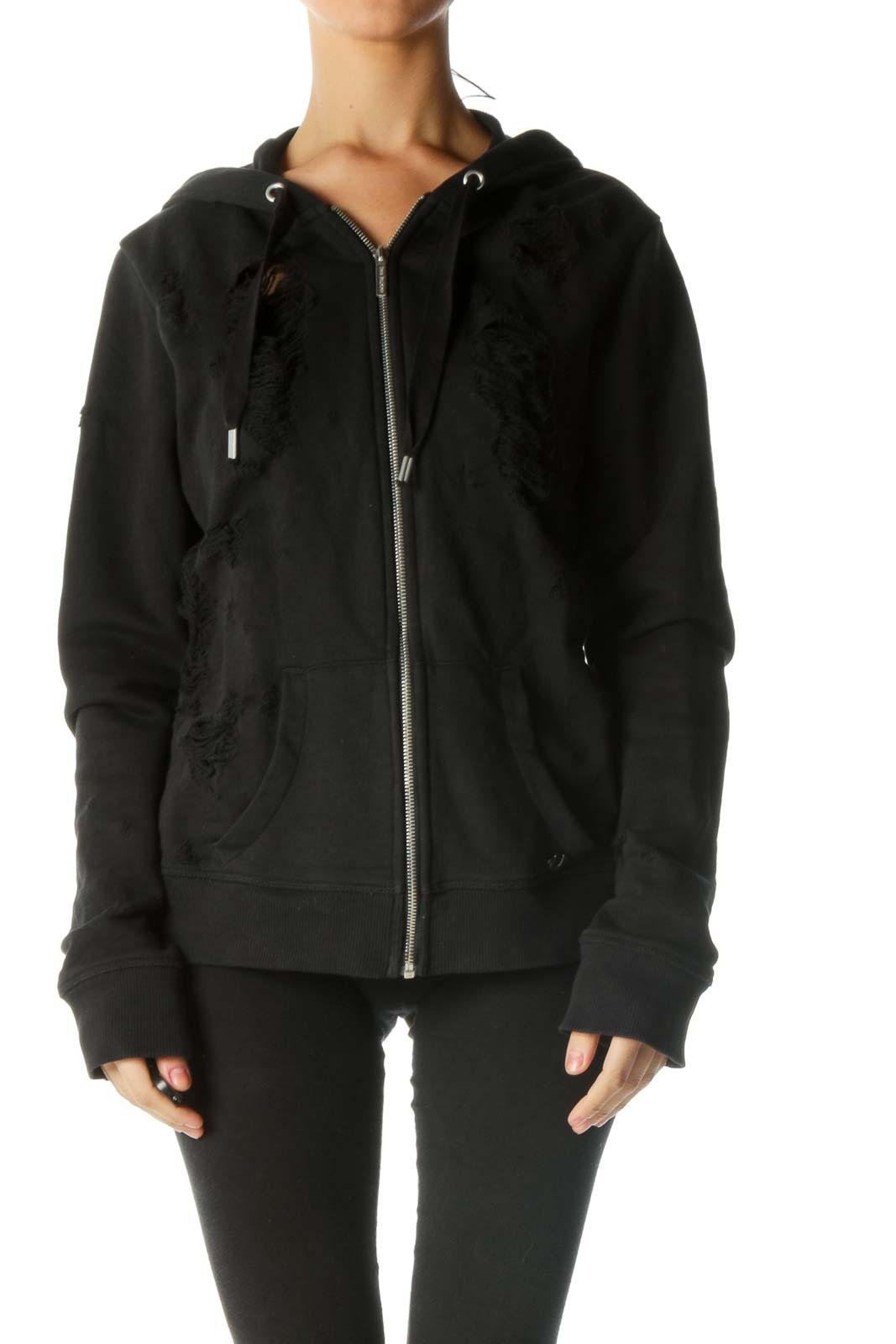 Black Distressed Zip up Jacket Front