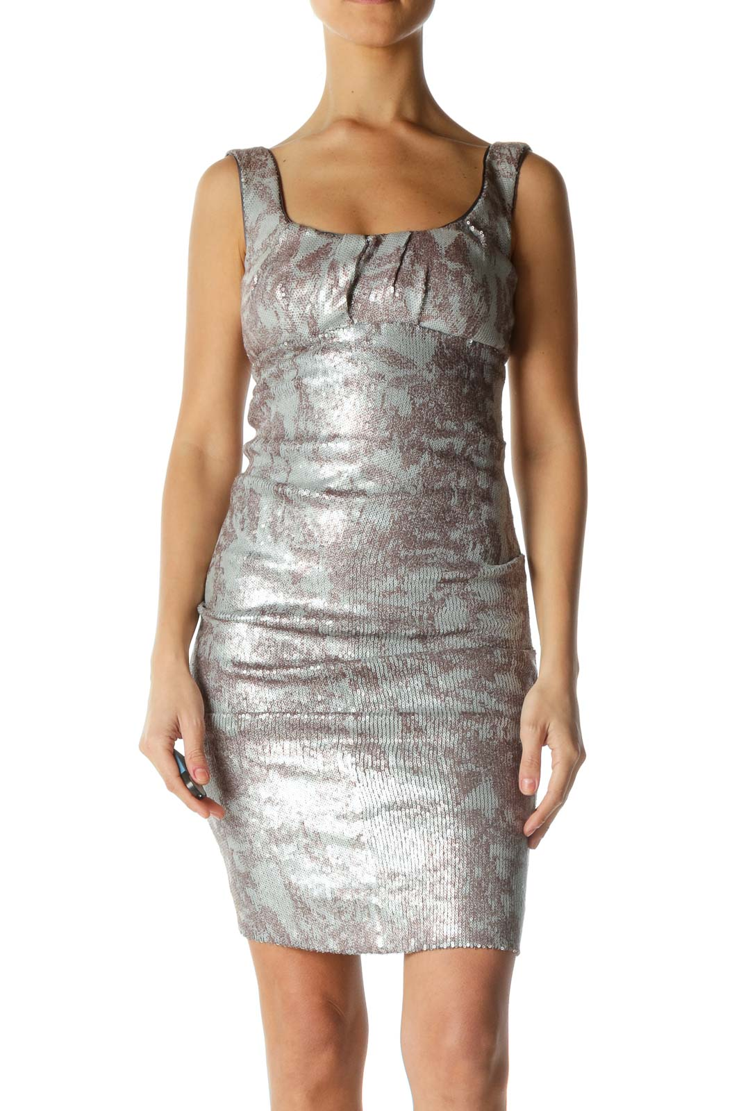 Brown and Silver Sequined Dress Front
