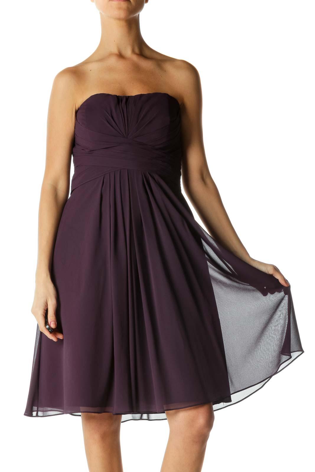Purple Strapless Cocktail Dress Front