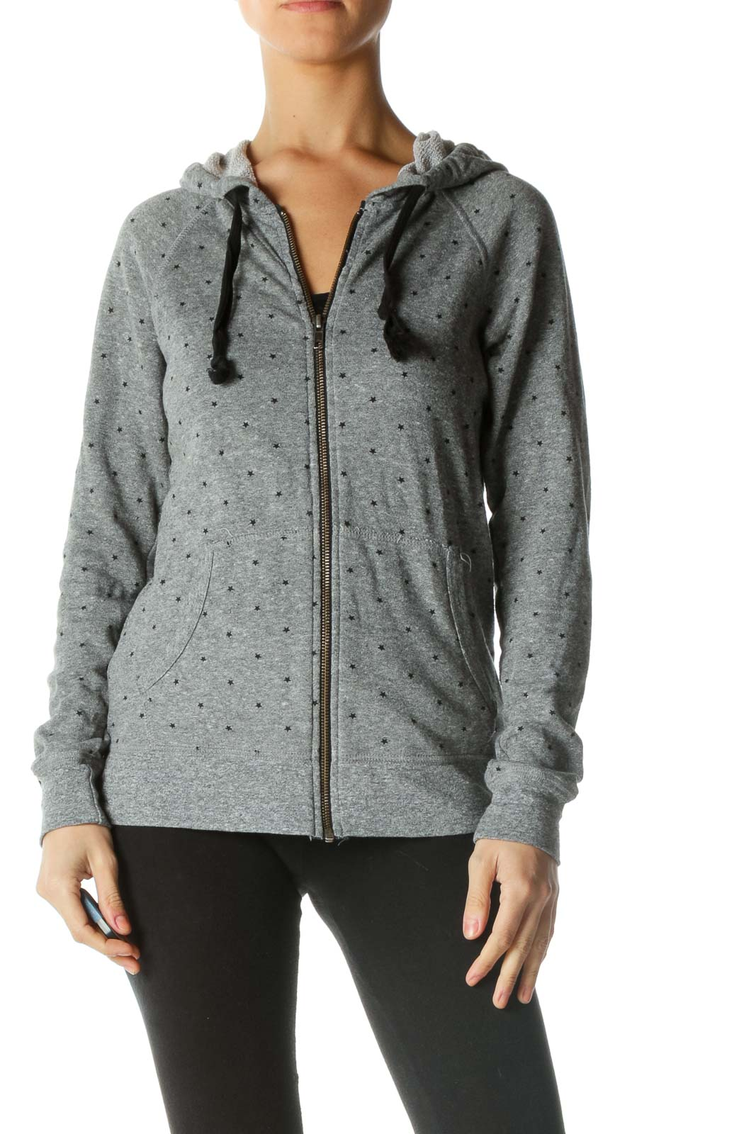 Black and Gray Star Print Jacket Front