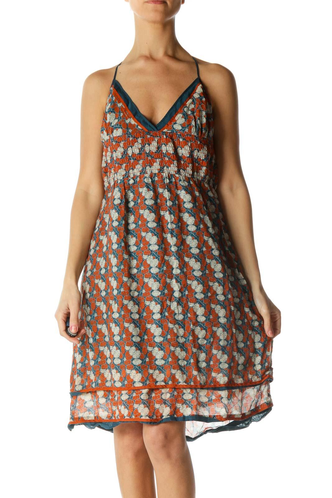 Blue and Orange Halter Dress Front