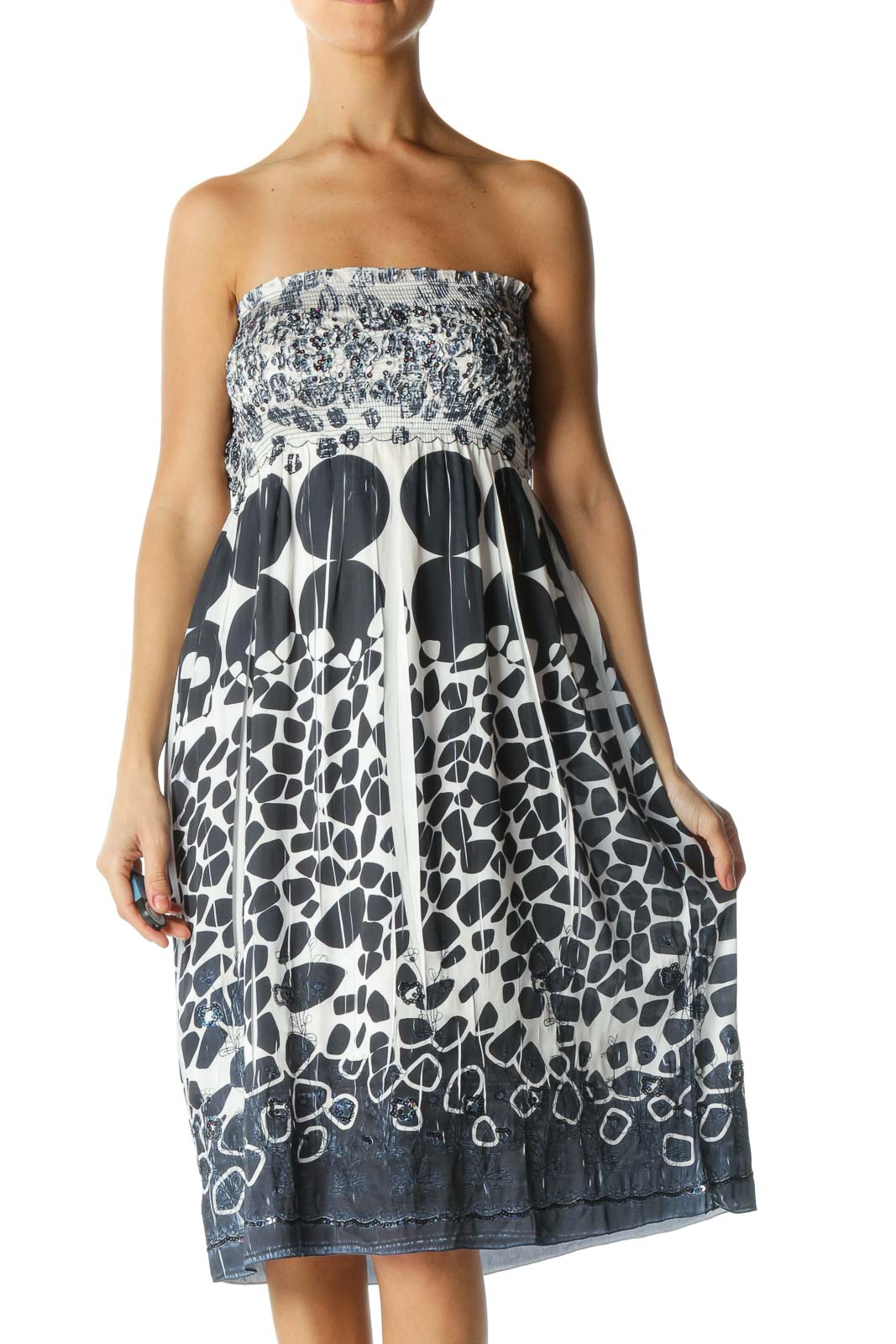Blue and White Strapless Sequined Dress Front