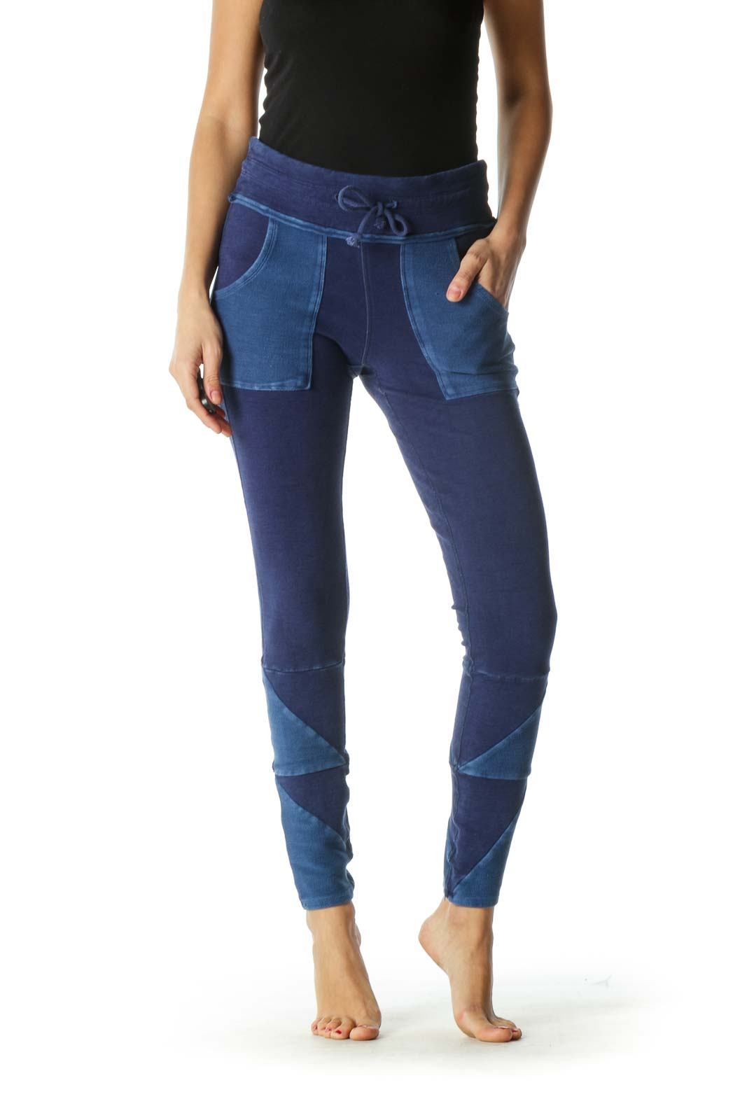 Blue Pocketed Sweat Pants Front