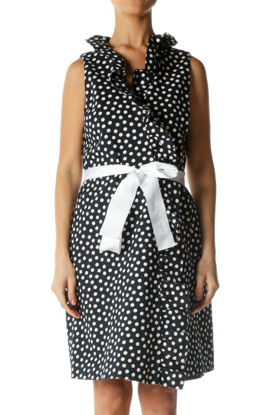 Blue and White Polka-Dot Dress Front