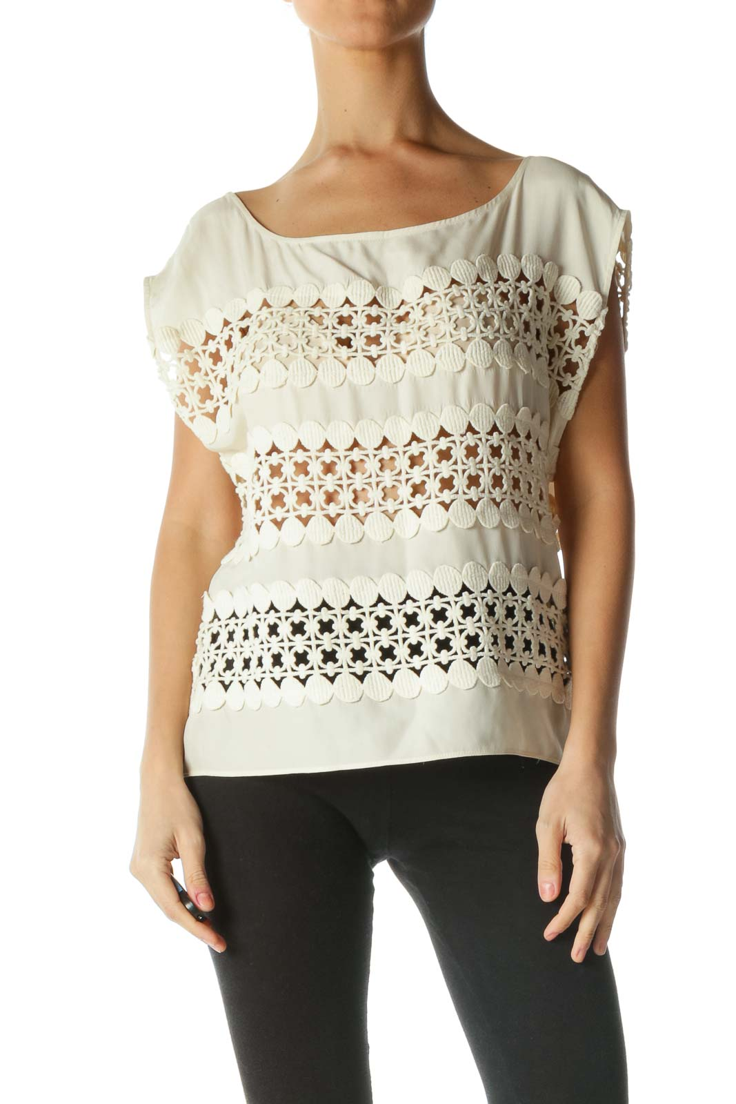 Cream Silk Cotton Knit See-Through Top Front