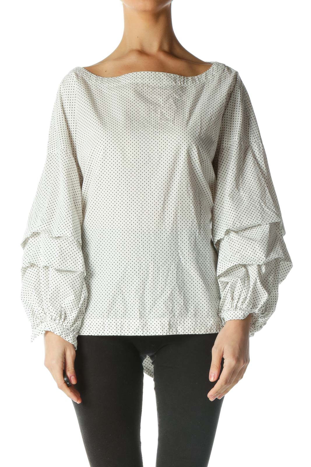 Black and White Polka-Dot Bell Sleeve Shirt Front