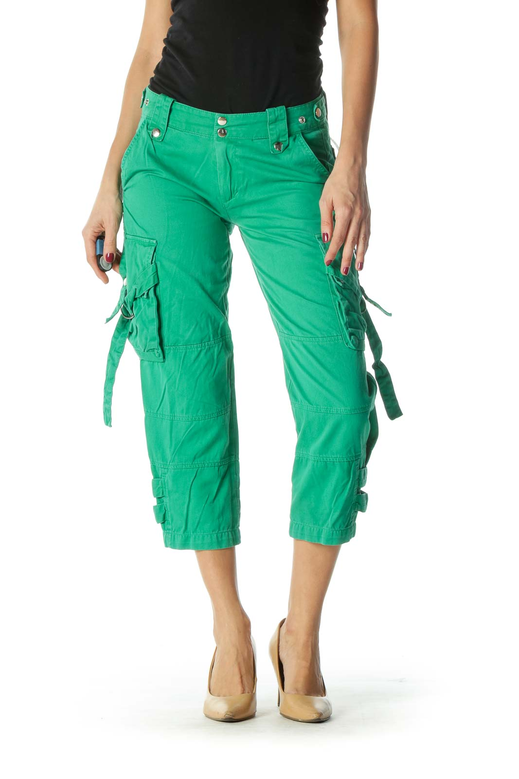 Green Snap Buttons Pocketed Cropped Pants Front
