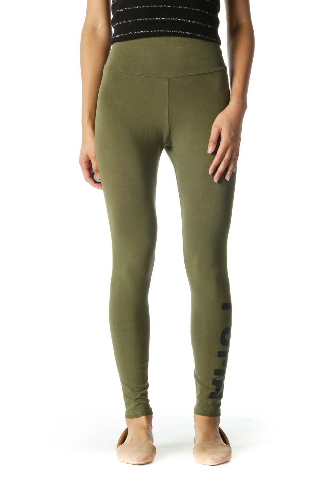 Green Logo High Waisted Leggings Front