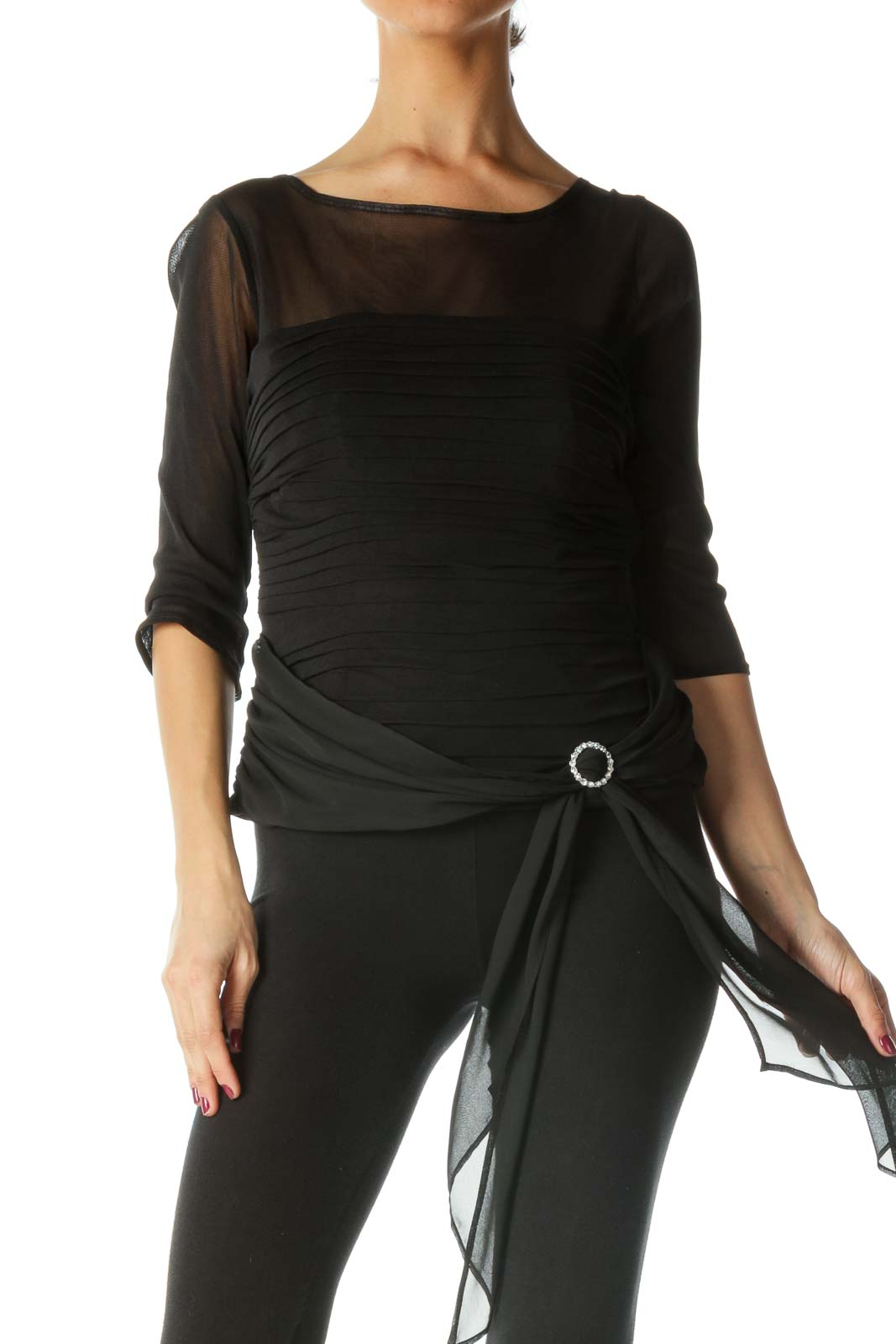 Black Pleated Boat Neck Knit Top Front