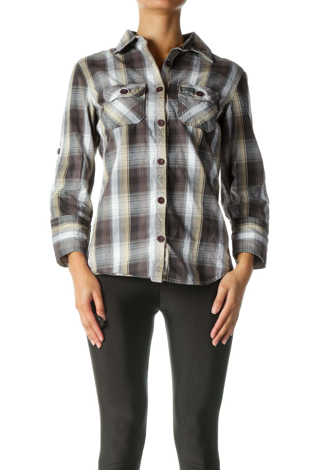 Grey, Beige, And White Plaid Button-Down Shirt Front