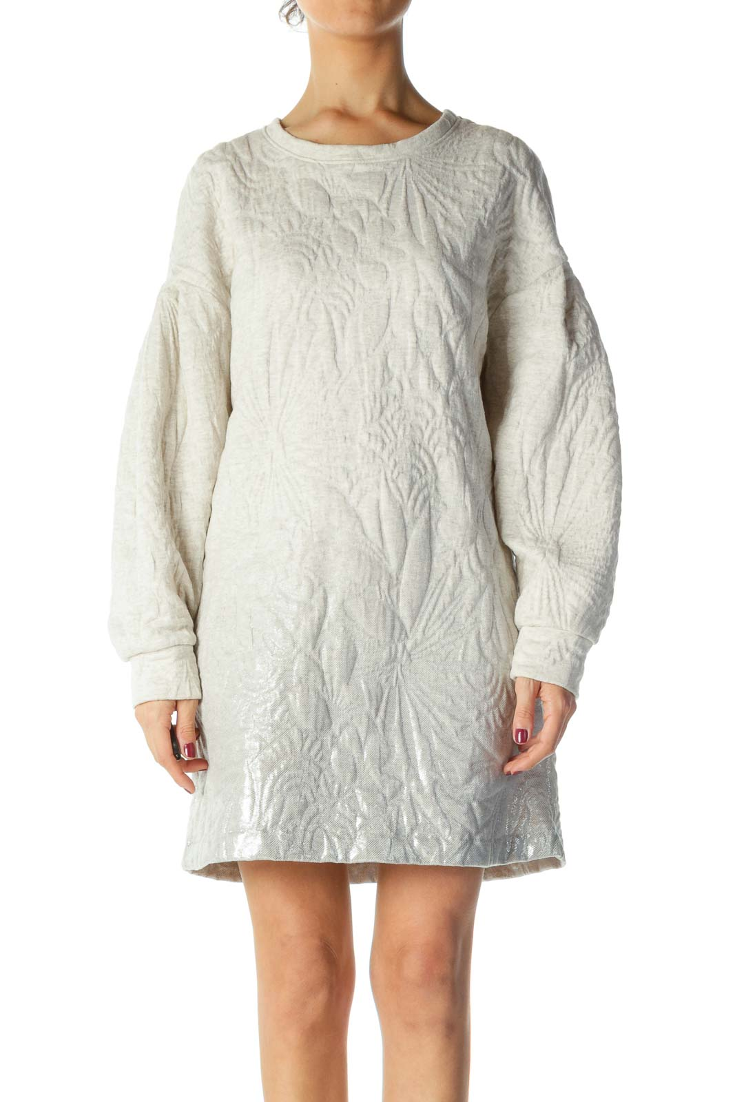 Cream and Silver Quilted Long Sleeve Knit Dress Front