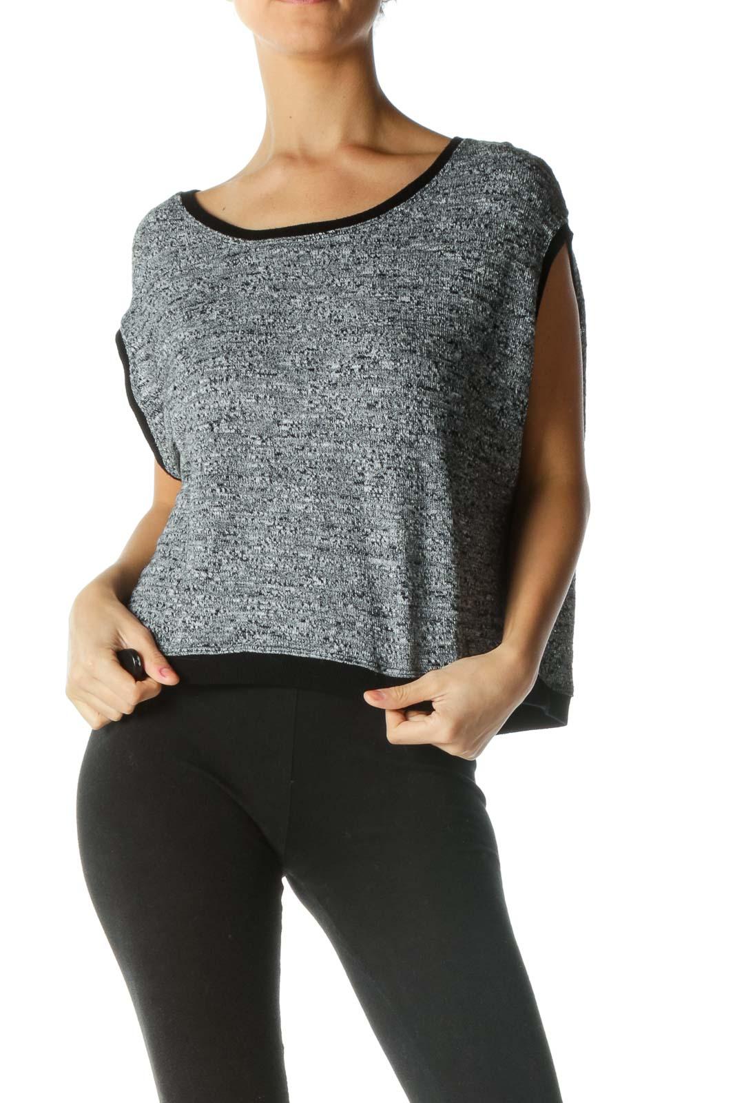 Gray Black Knit Sleeveless Top Front