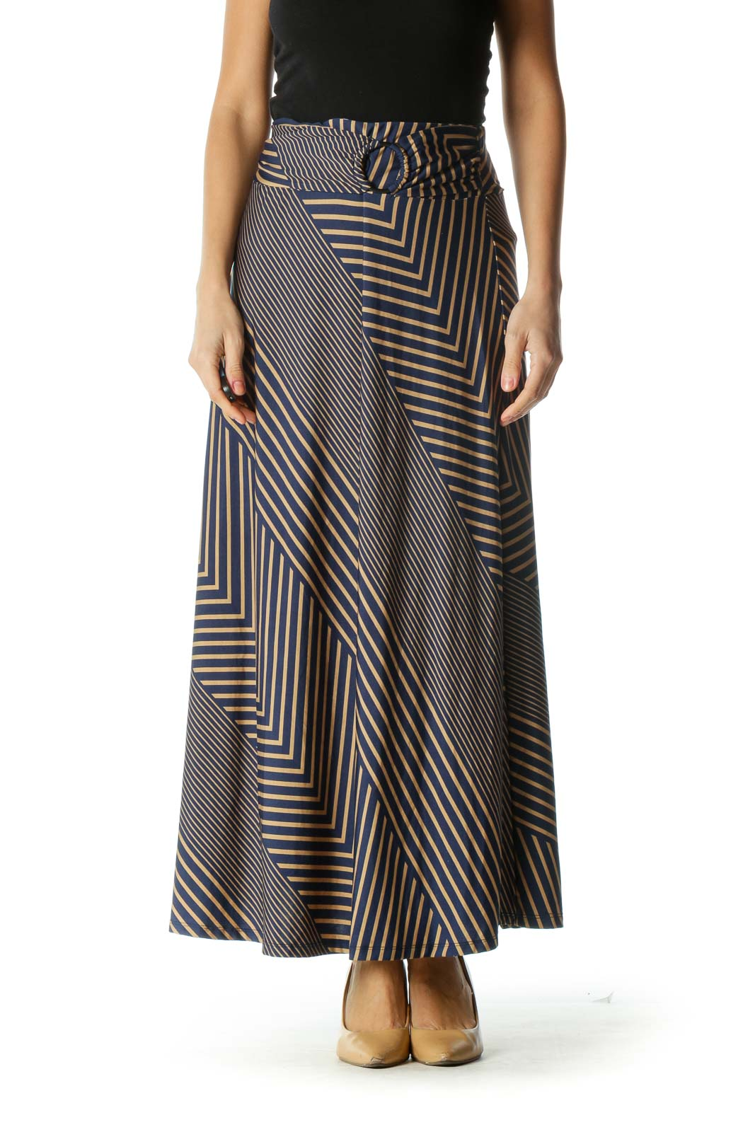 Blue and Brown Striped Flowy Maxi Skirt Front