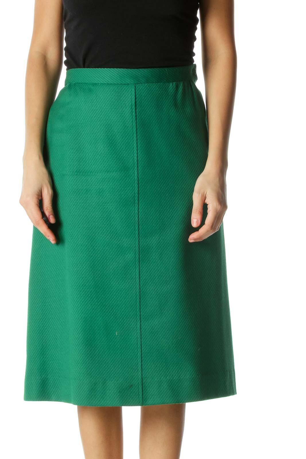 Green A-line Skirt Front