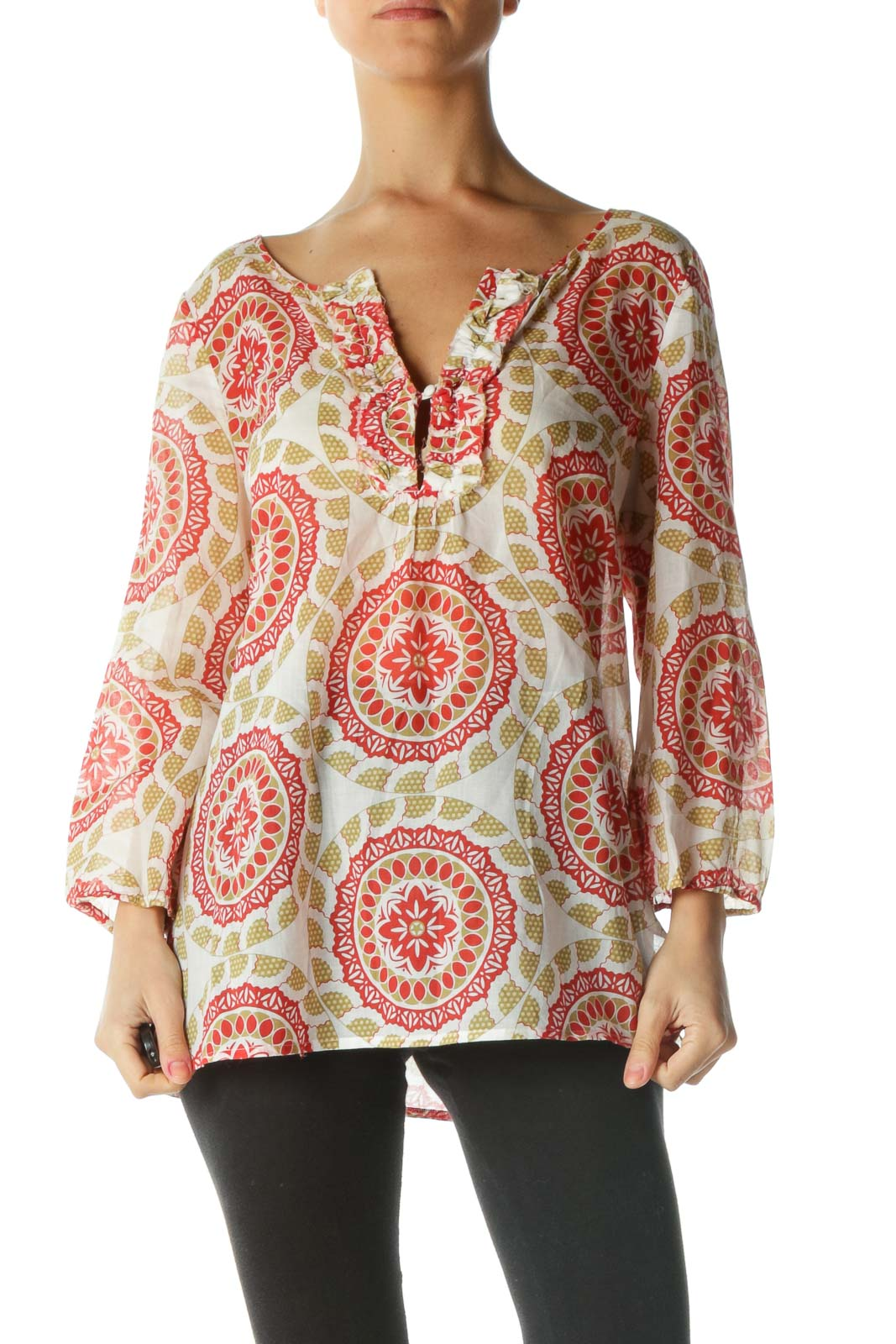 Red and White Geometric Print Blouse Front