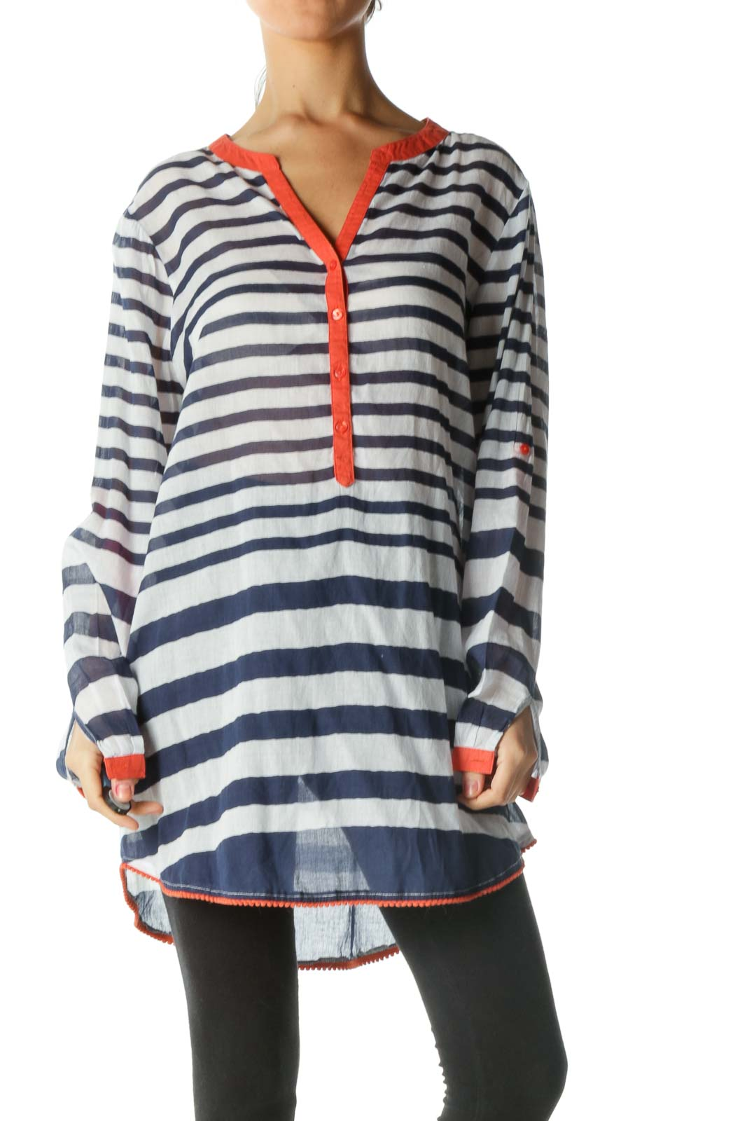 Blue and White Striped Sheer Long Sleeve Shirt Front