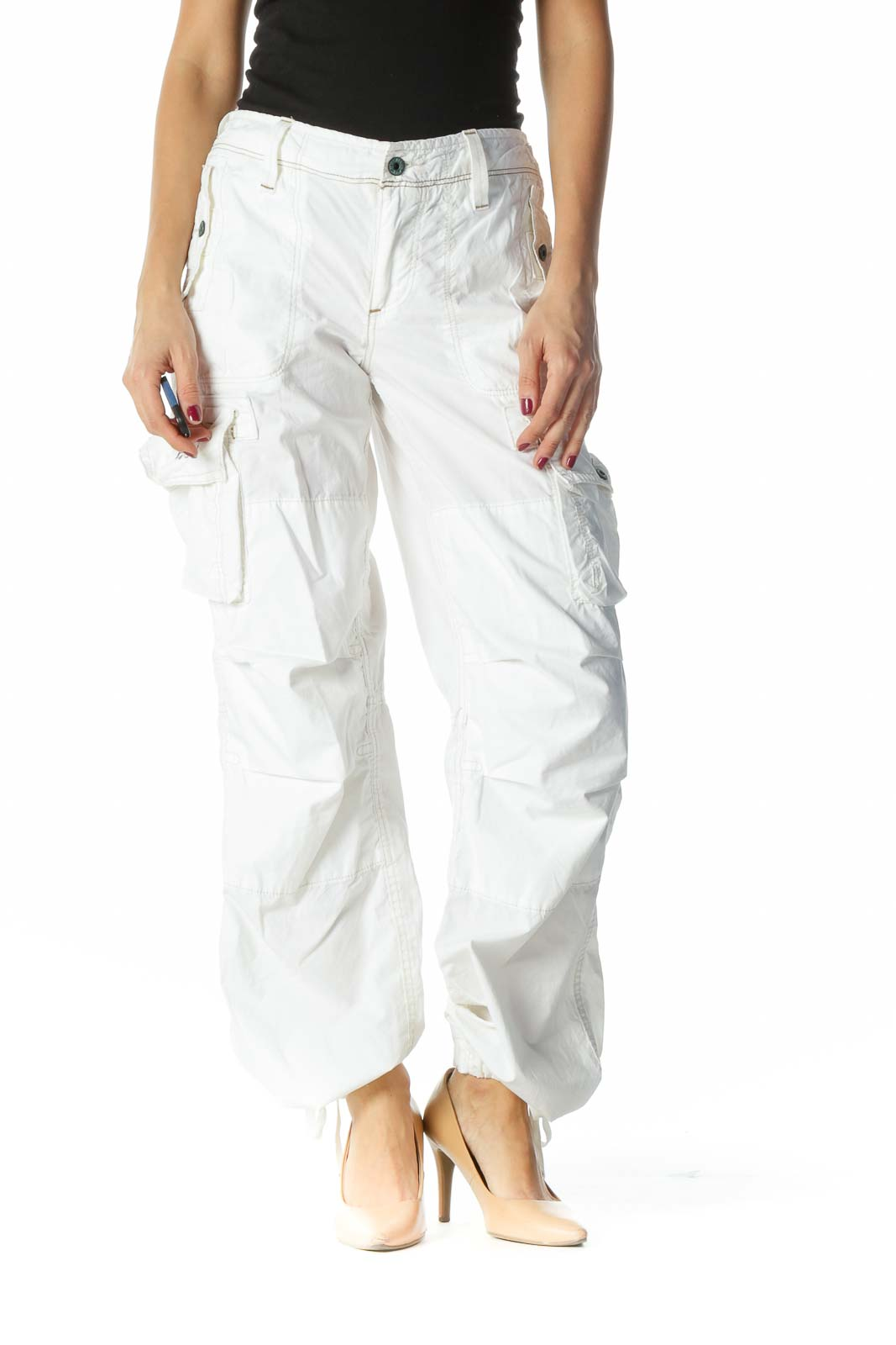 White Beige Stitching Pocketed Pants Front