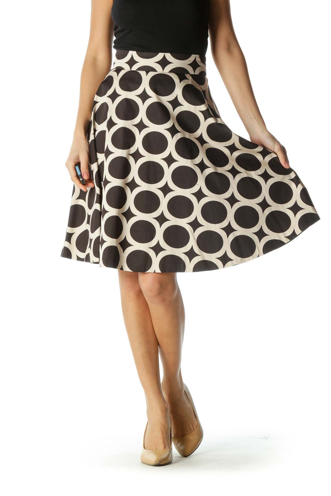 Black and Cream Print Flared Skirt Front