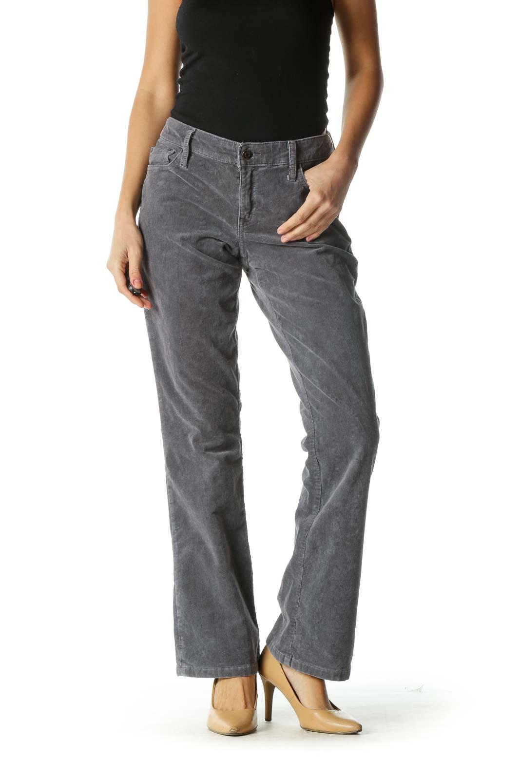 Gray Corduroy Boot Cut Pants Front
