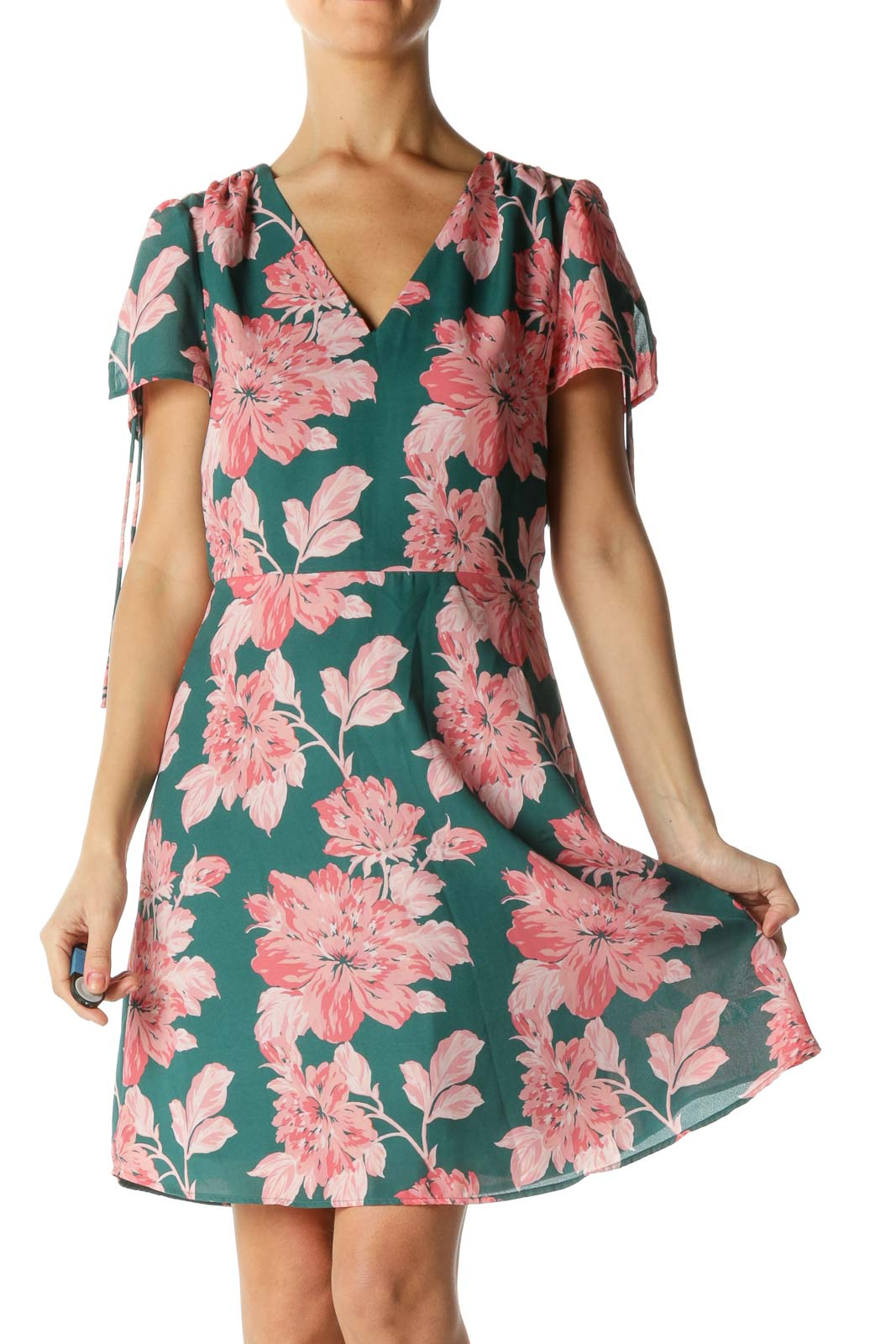 Green and Pink Floral Print Dress Front
