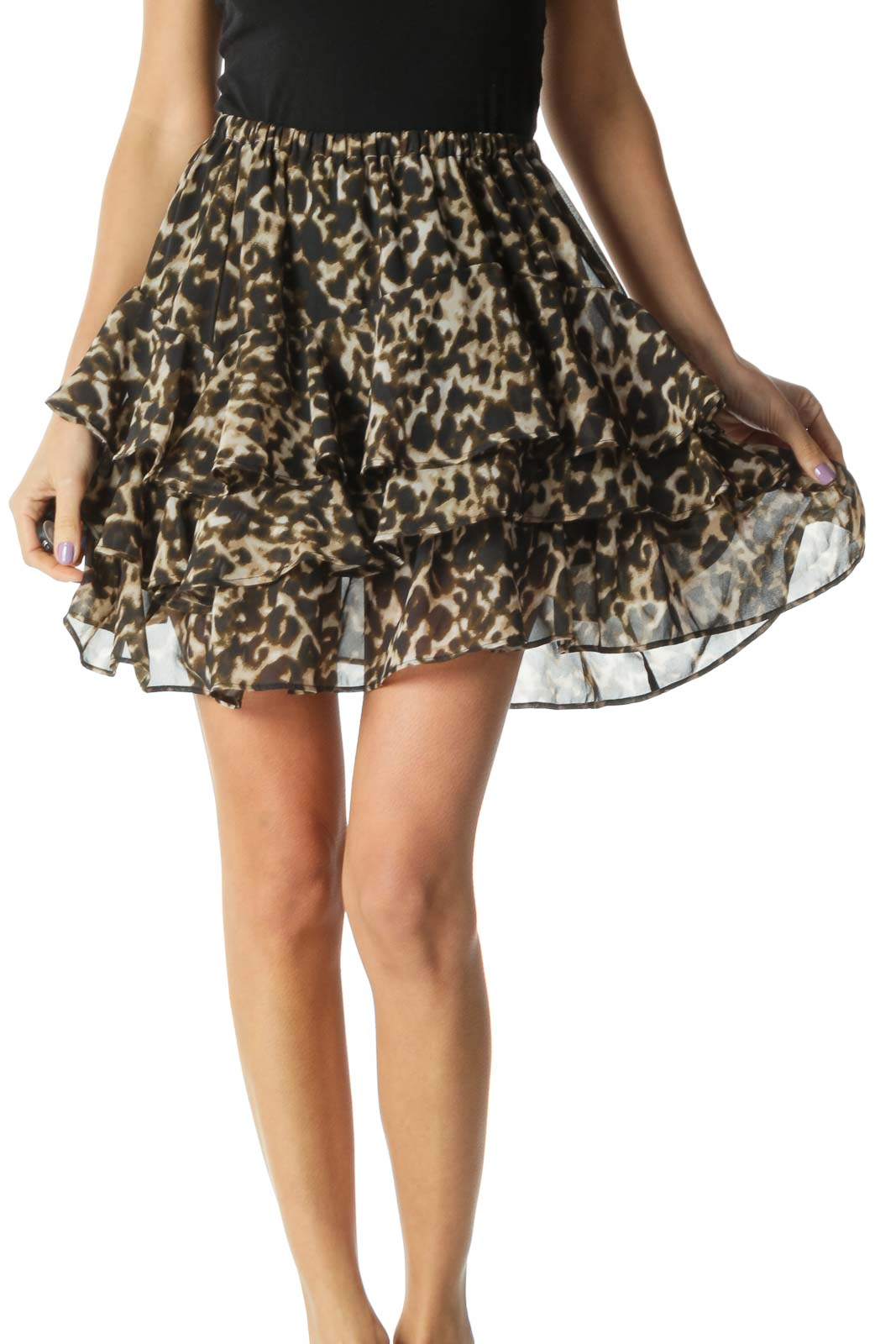 Black and Brown Cheetah Print Tiered Ruffled Flared Skirt Front