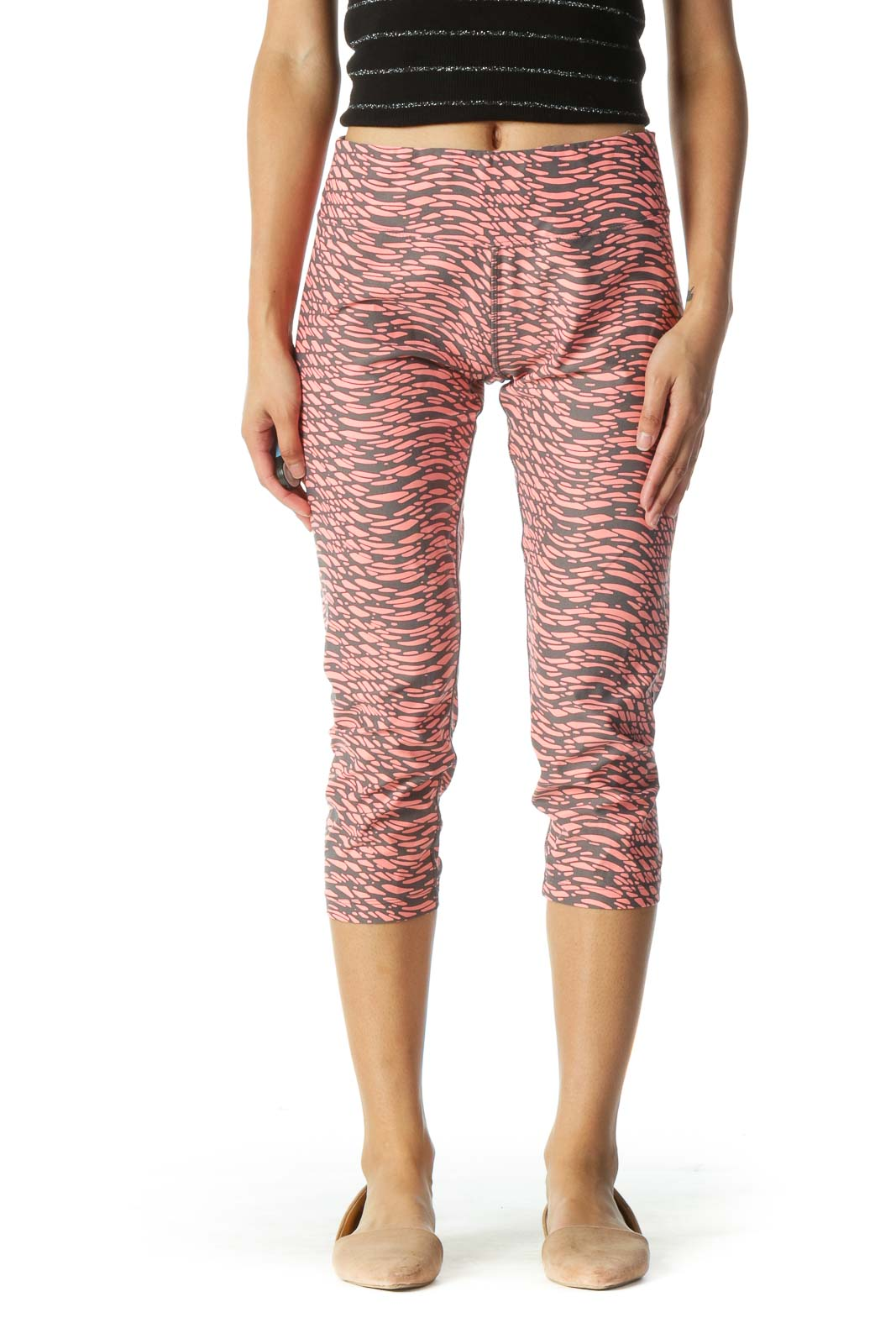 Gray and Pink Print Cropped Leggings Front