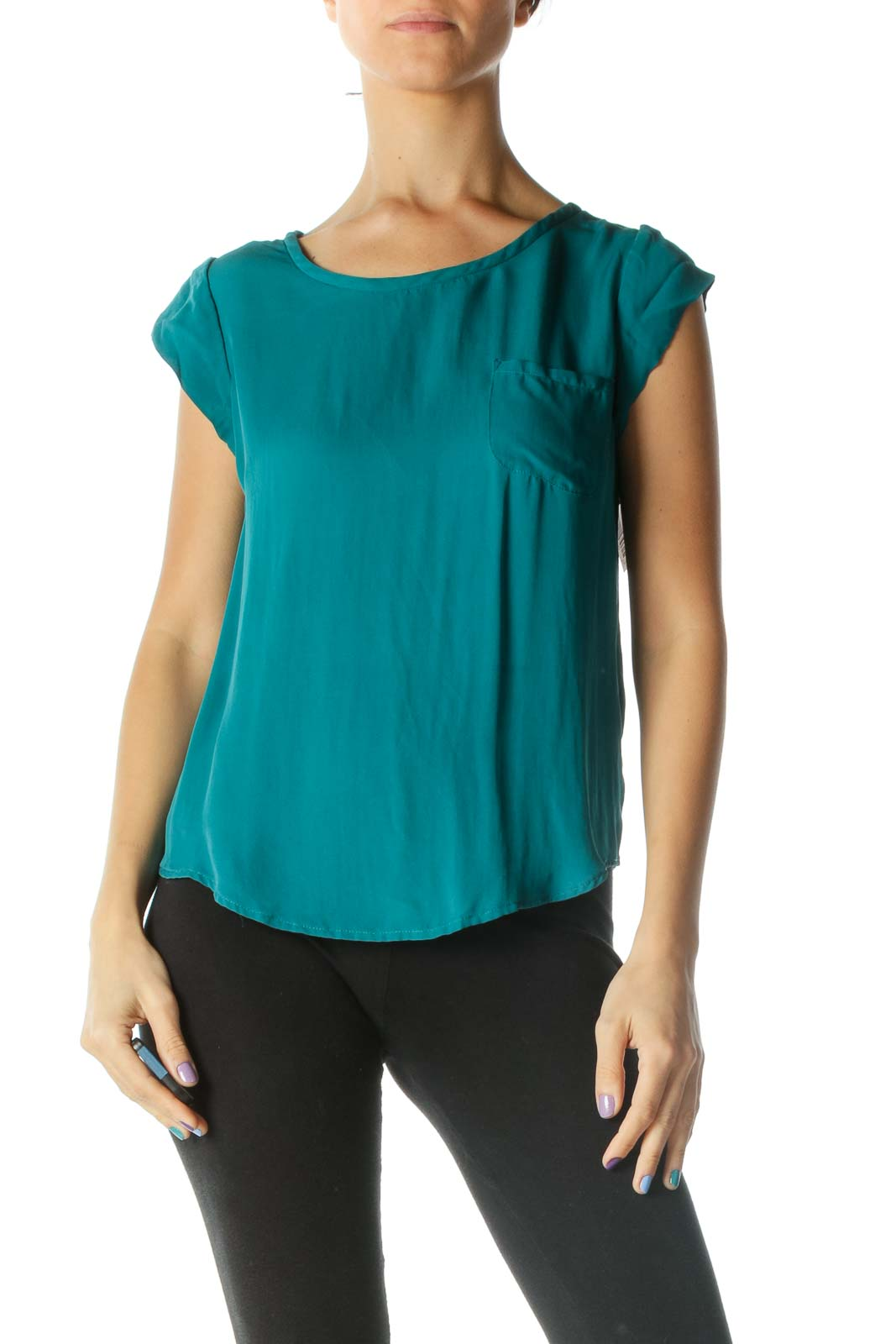 Green Cap Sleeve Round Neck Blouse Front