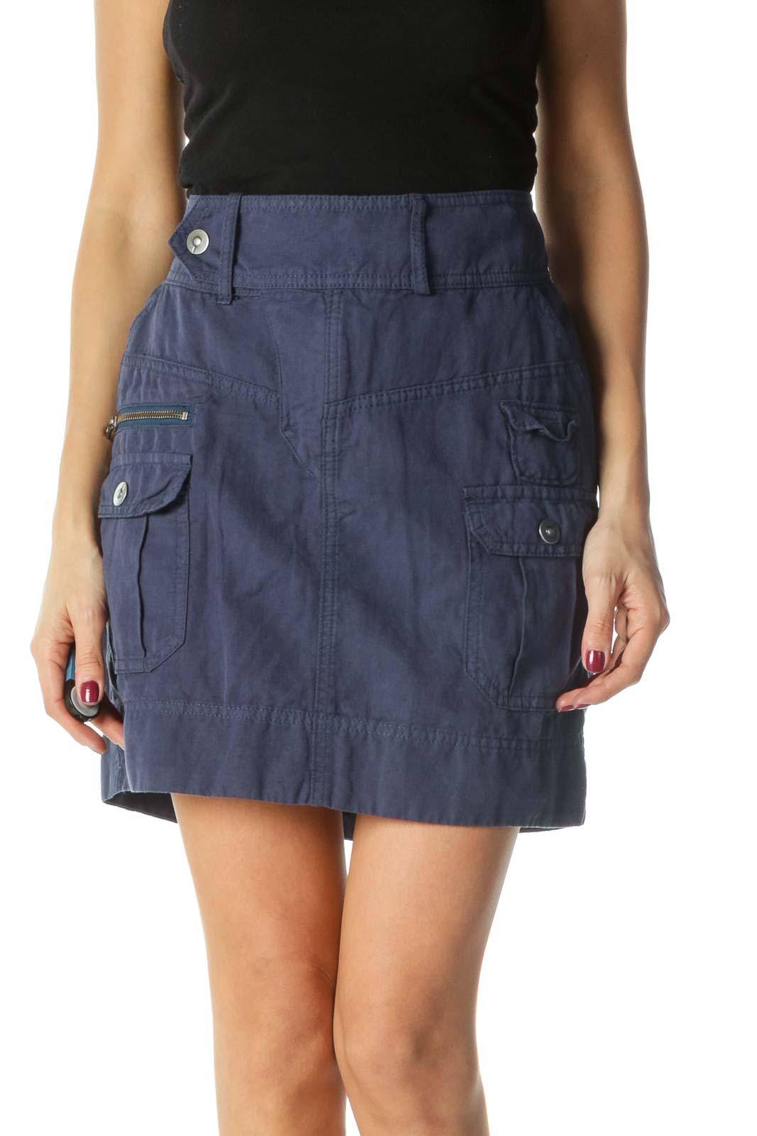 Navy Zippered Pockets and Snap Button A-Line Skirt Front