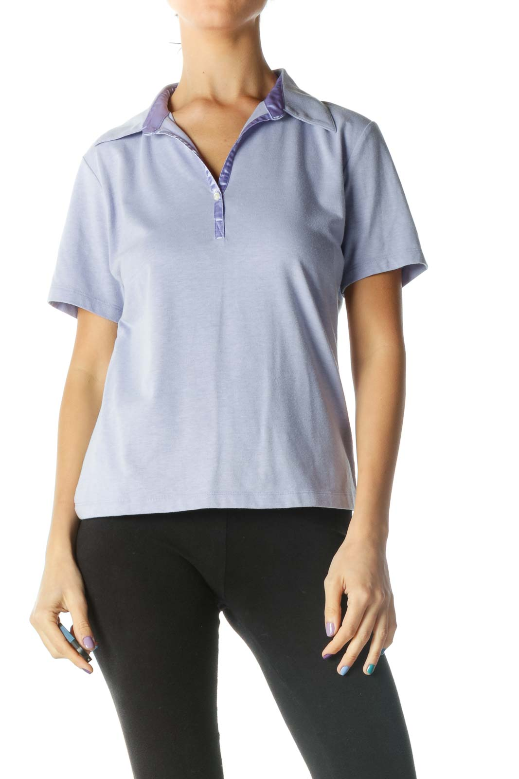 Violet Short Sleeve Collared Polo Shirt Front