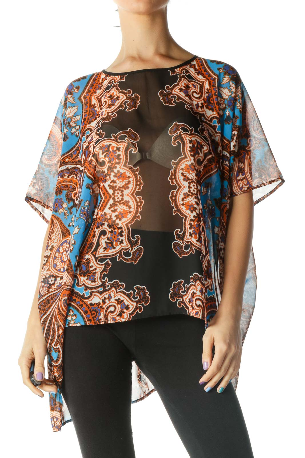 Black, Blue, and Orange See Through Floral Print Flowy Blouse Front