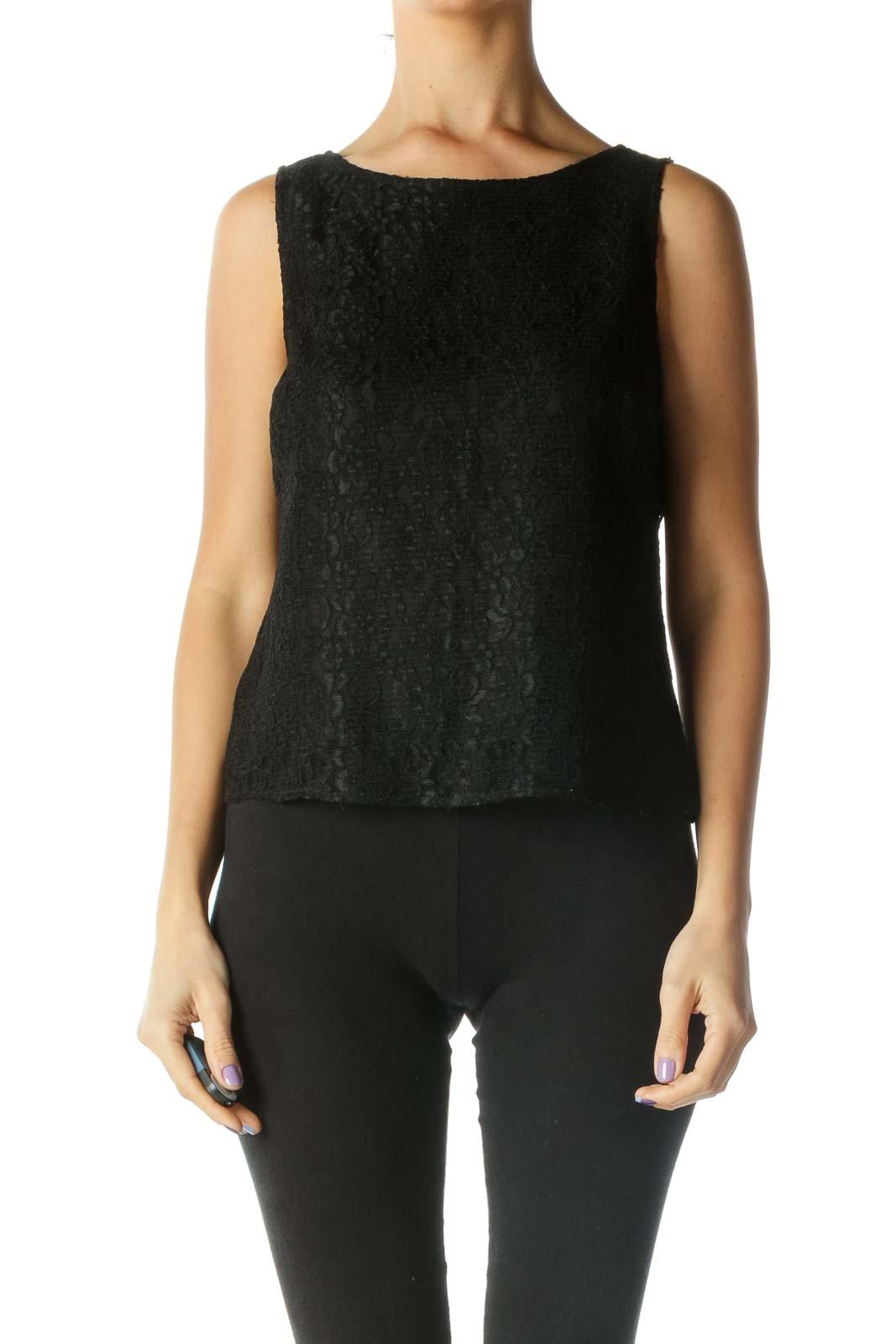 Black Floral Lace Blouse Front