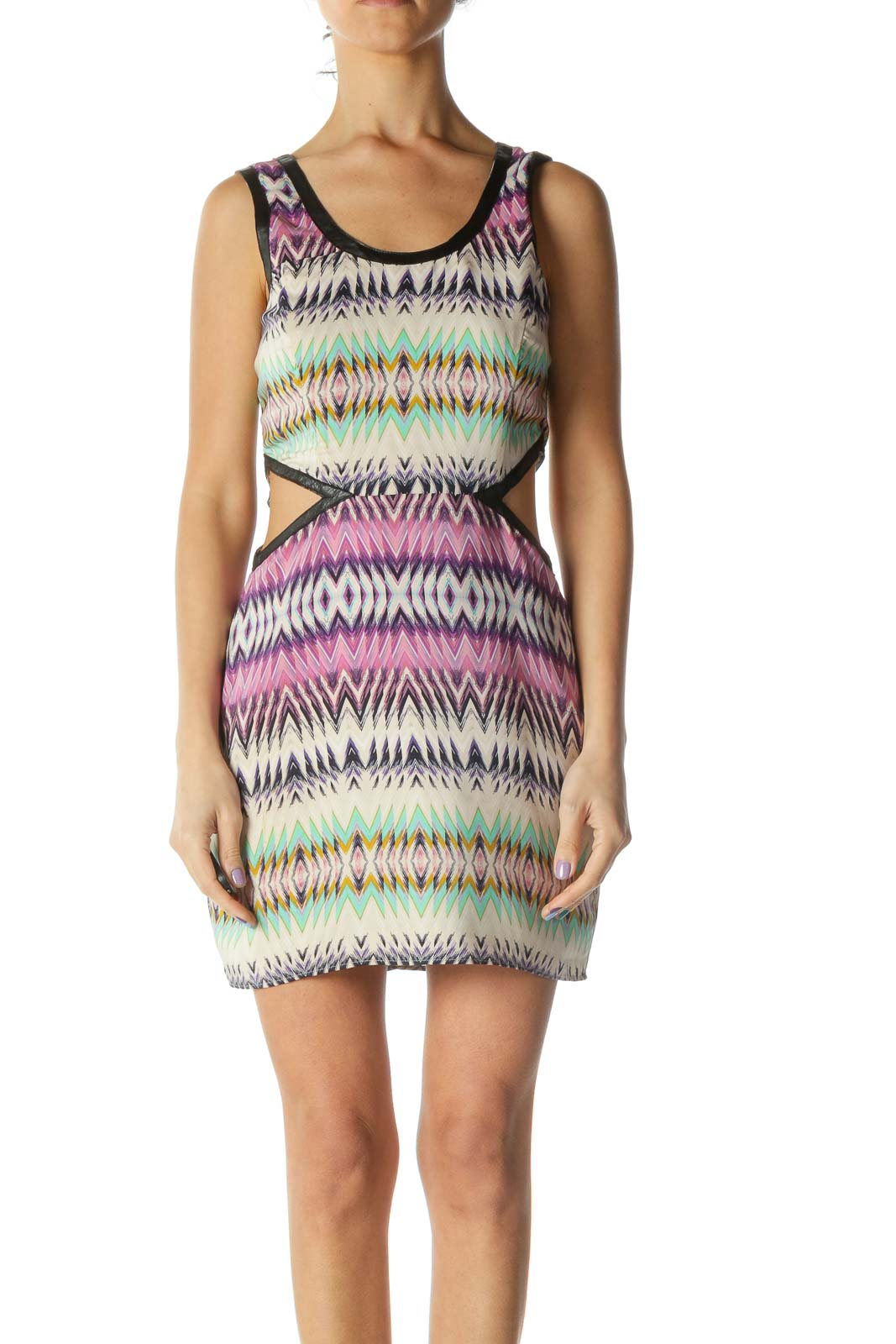 Multicolored Cut-out Contrasting Piping Cocktail Dress Front