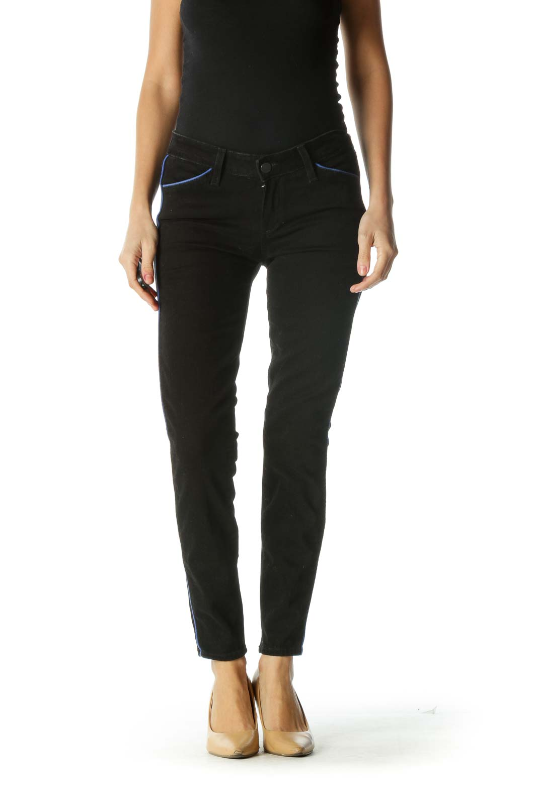 Black and Blue Striped Skinny Jeans Front