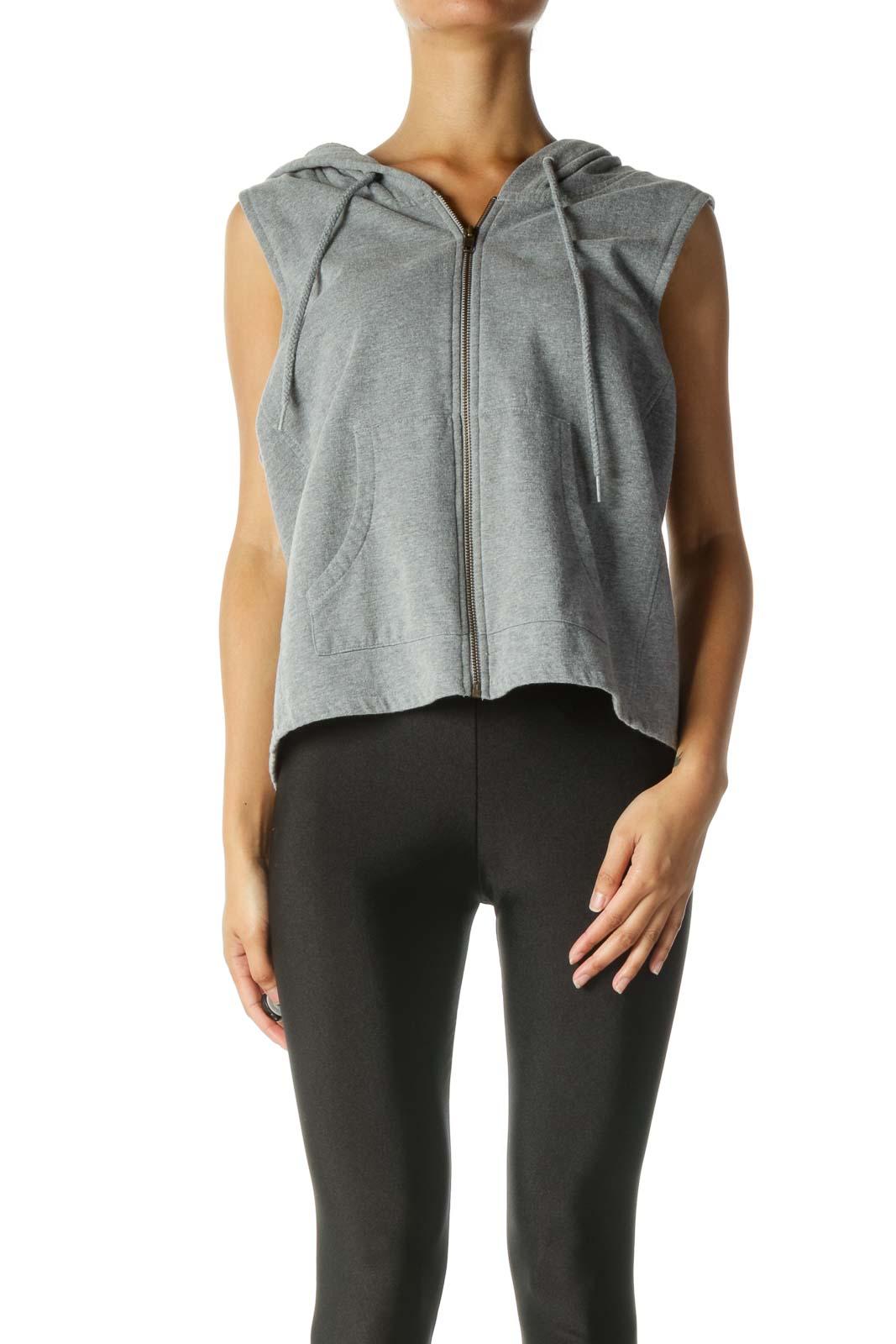 Gray Sleeveless Jacket Front
