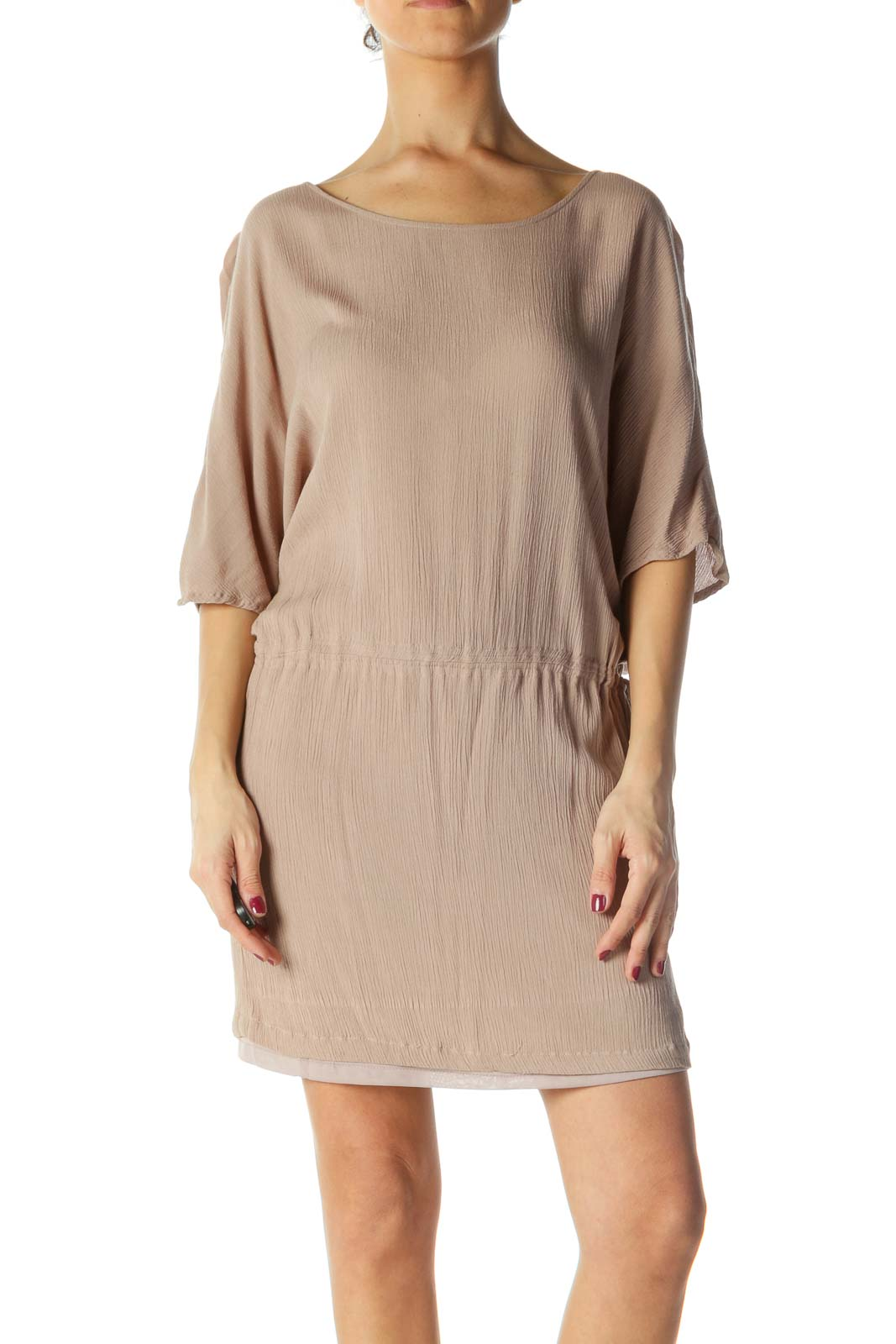 Brown Ribbed Short Sleeve Dress Front