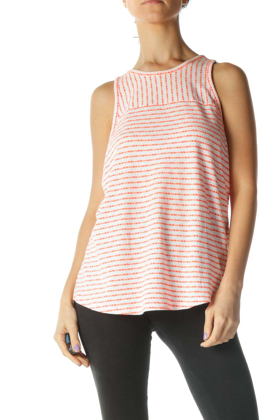 White And Orange Racerback Scoop Neck Tank Top Front