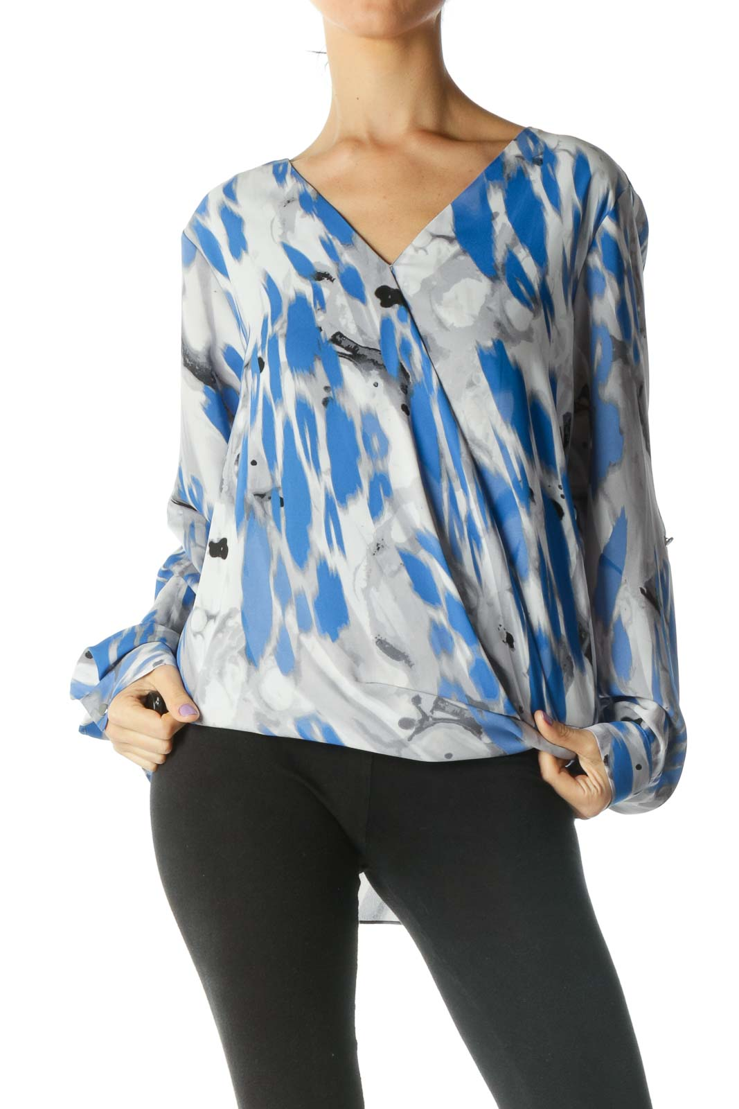 Grey, Blue, and Black Print V-Neck Long Sleeve Blouse Front