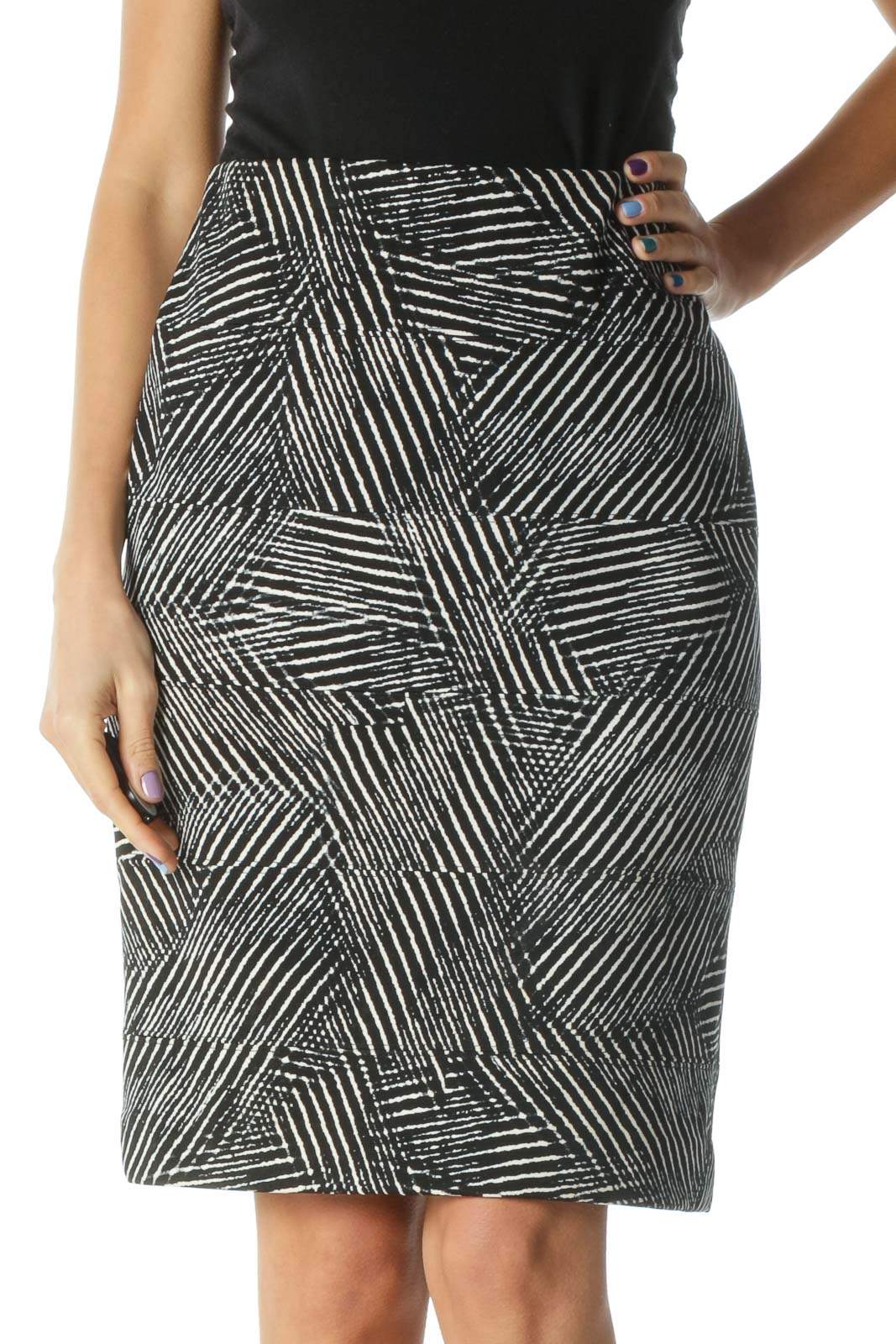 Black and White Zebra Print Bandage Wrap Pencil Skirt Front