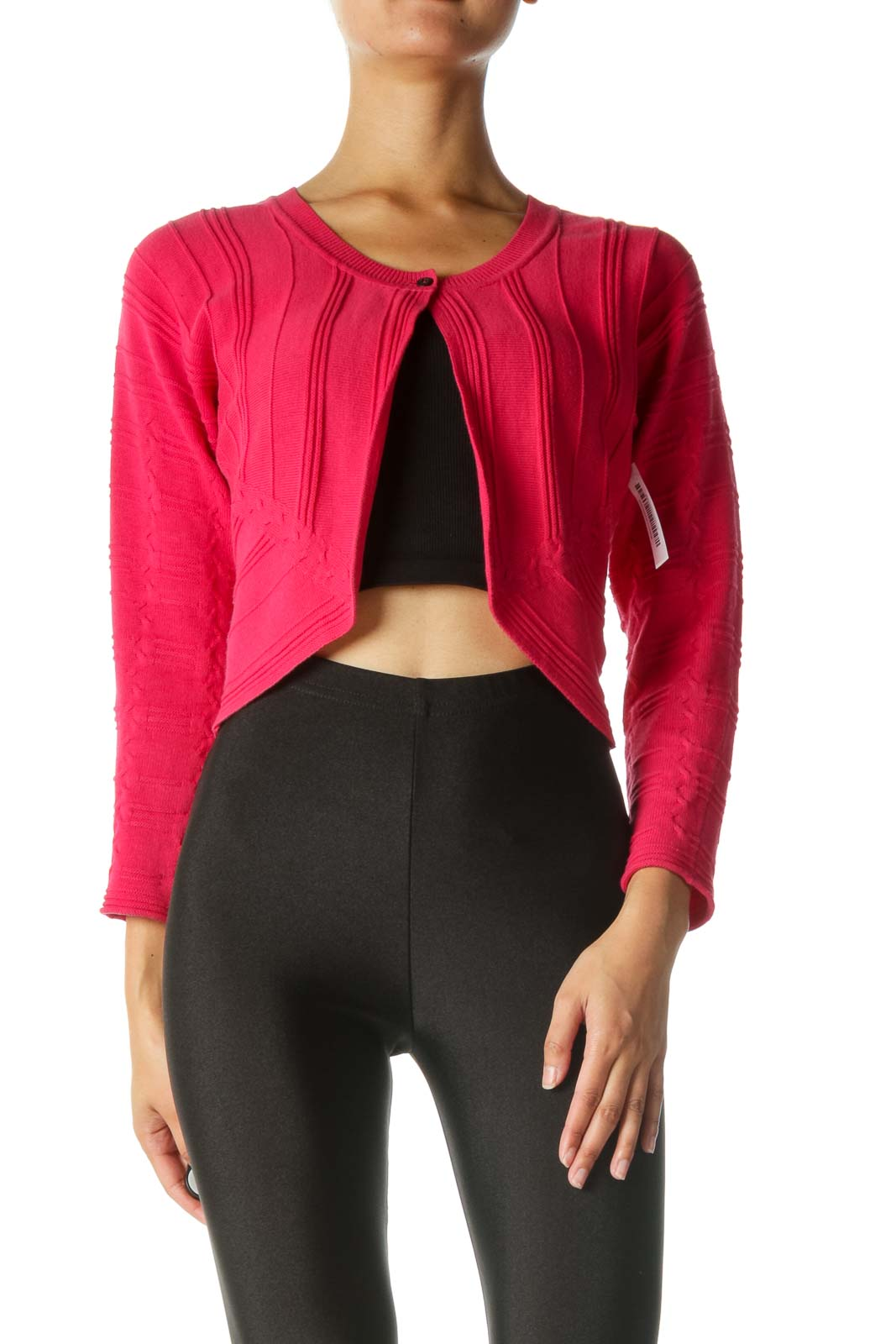 Pink Ribbed Cardigan Front
