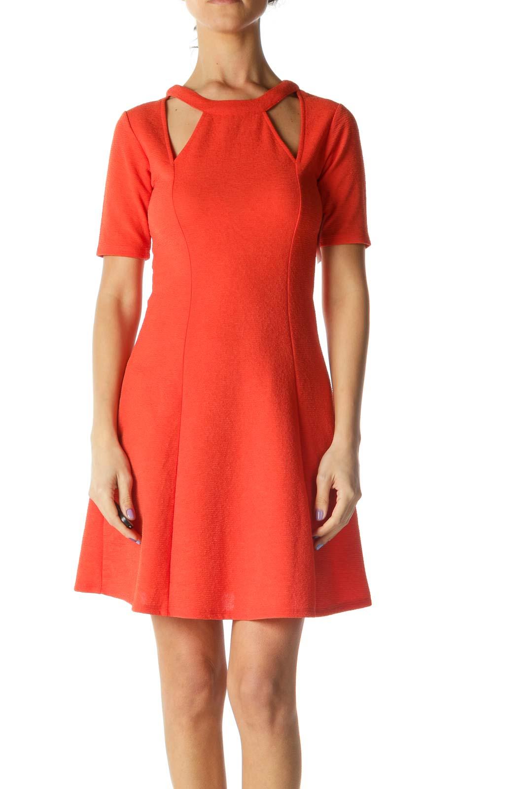 Orange Textured Cutout Cocktail Dress Front
