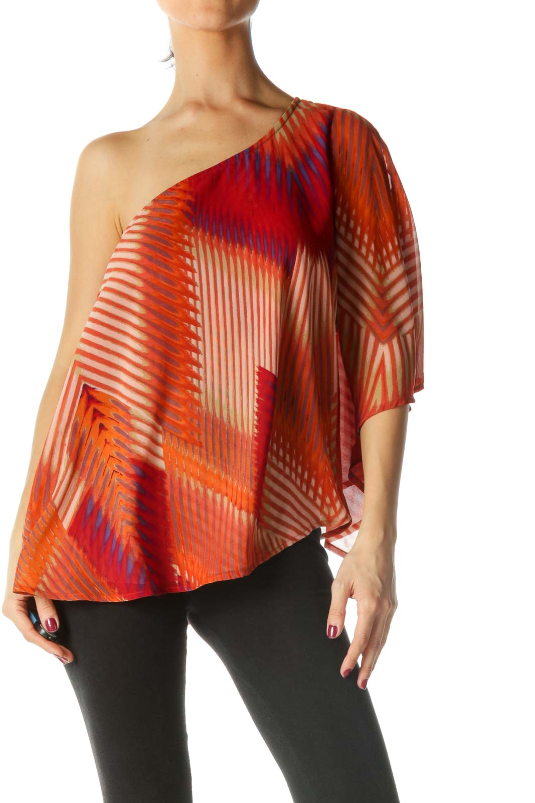 Orange One Shoulder Flowy Blouse Front