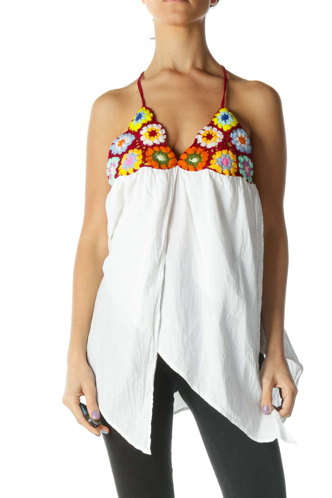 White and Multicolored Floral Halter Knit Top Front