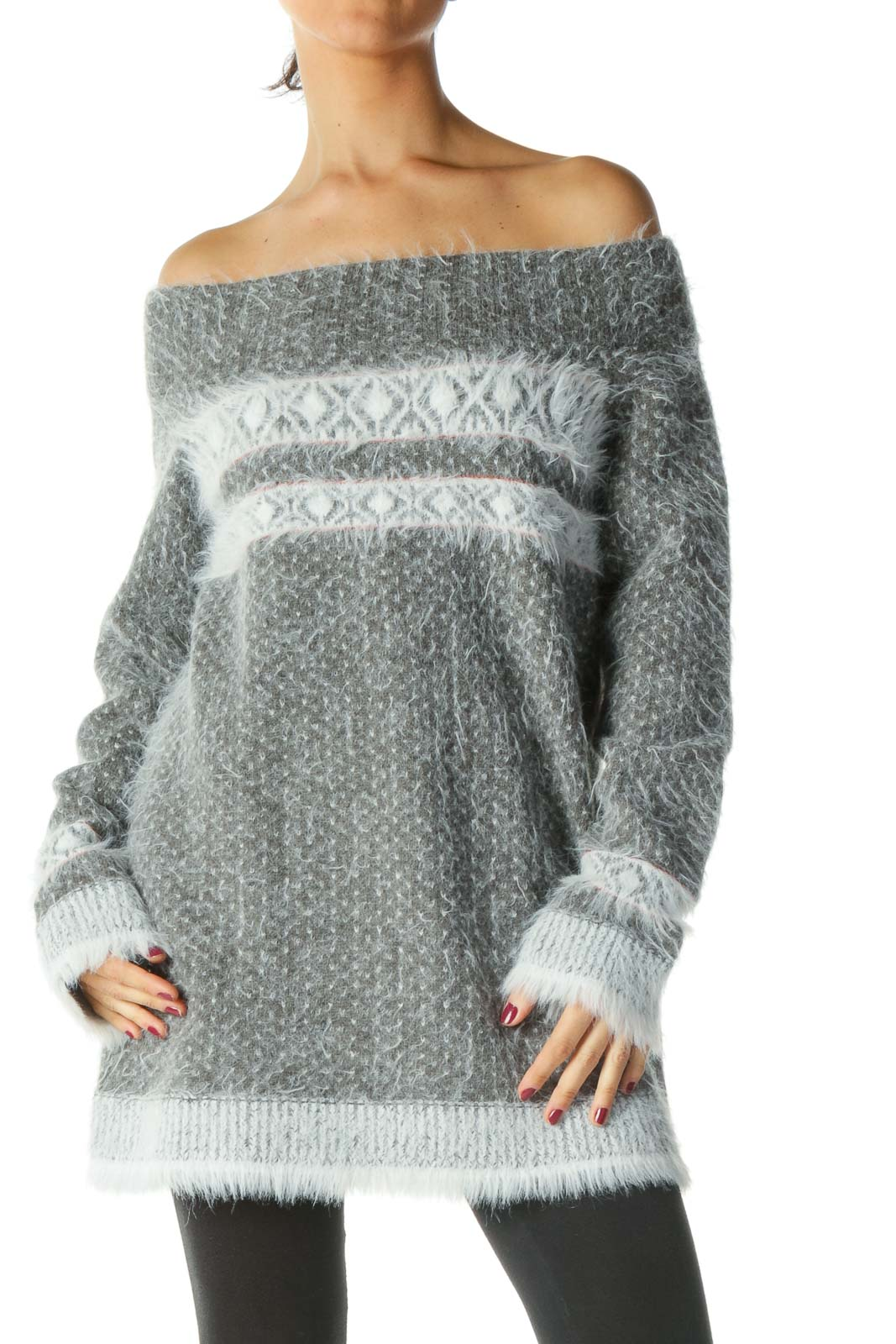 Grey Off Shoulder Long Sleeve Sweater Front
