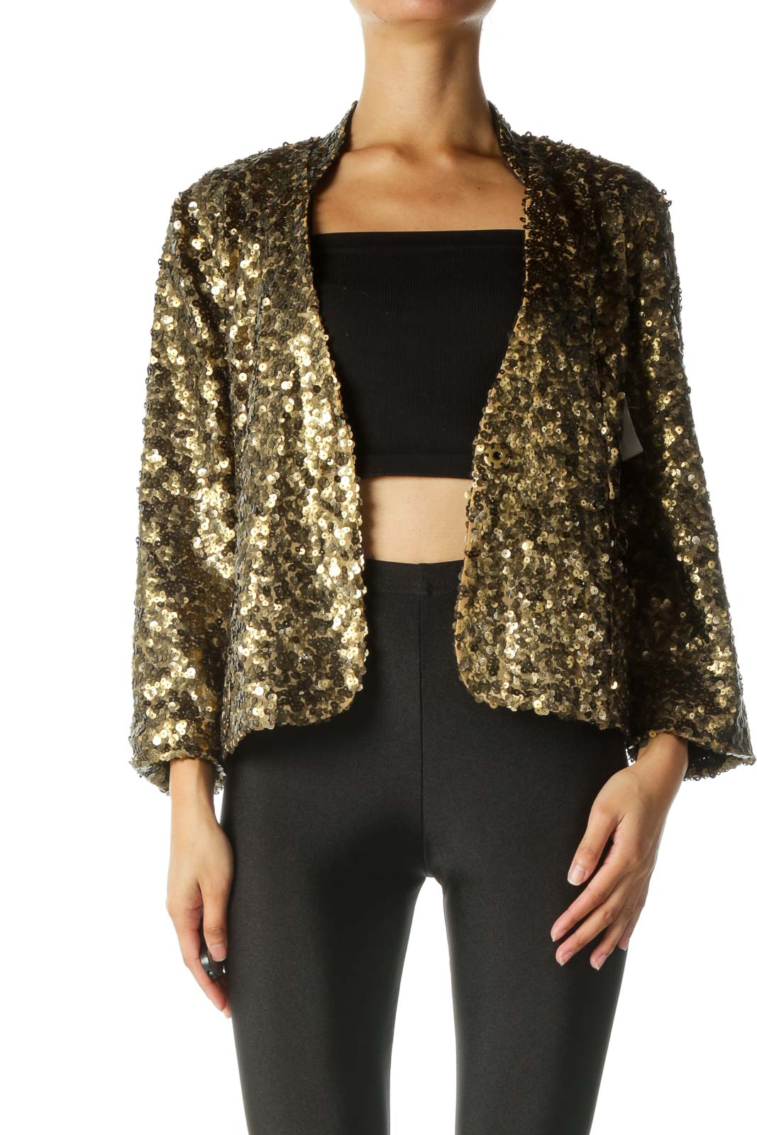 Gold Sequined Snap Button Blazer Front