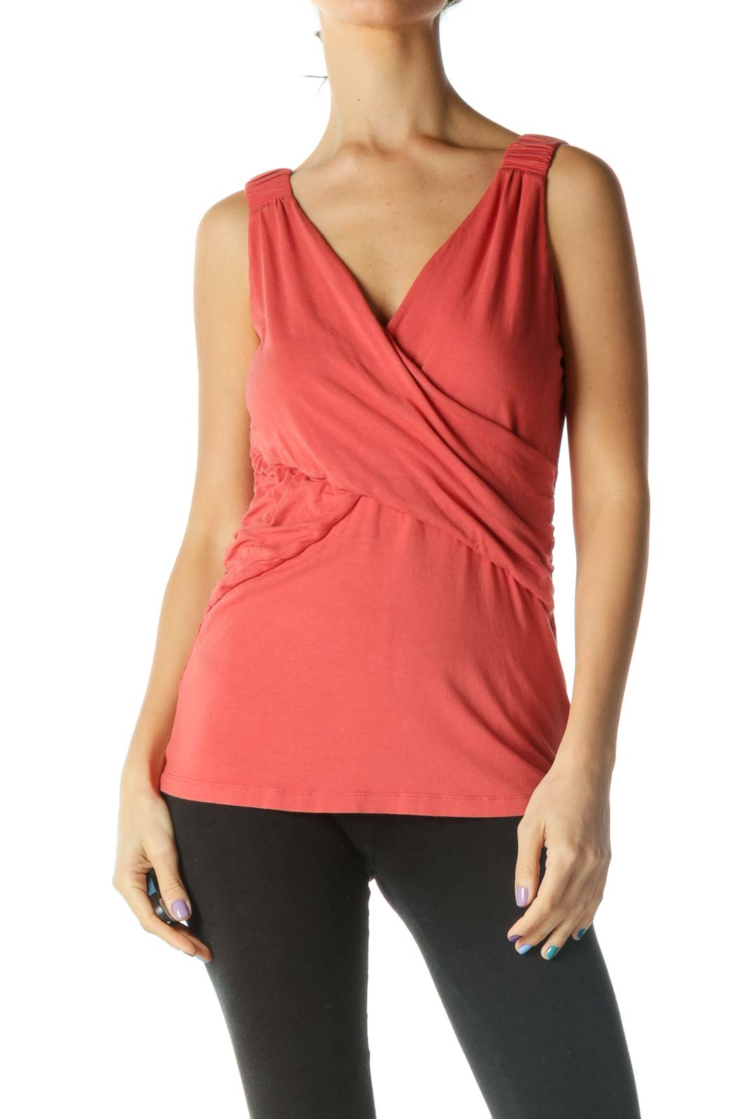 Orange Wrap V Neck Tank Top Front