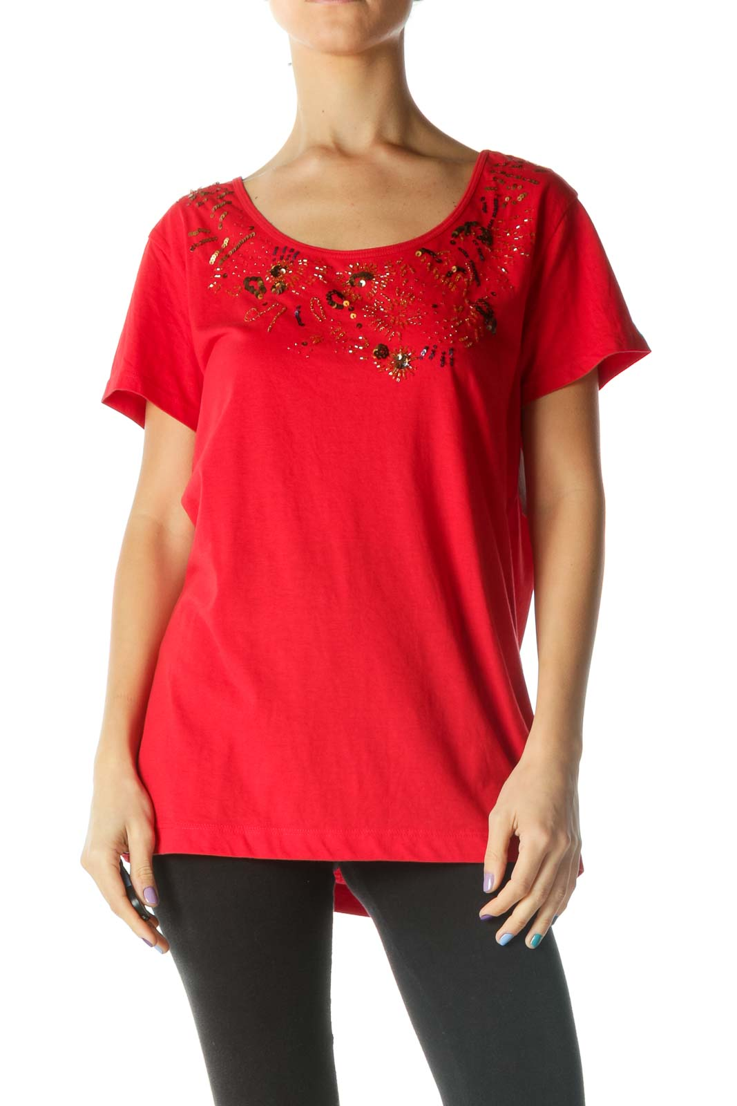 Red Beaded and Sequined T-Shirt Front