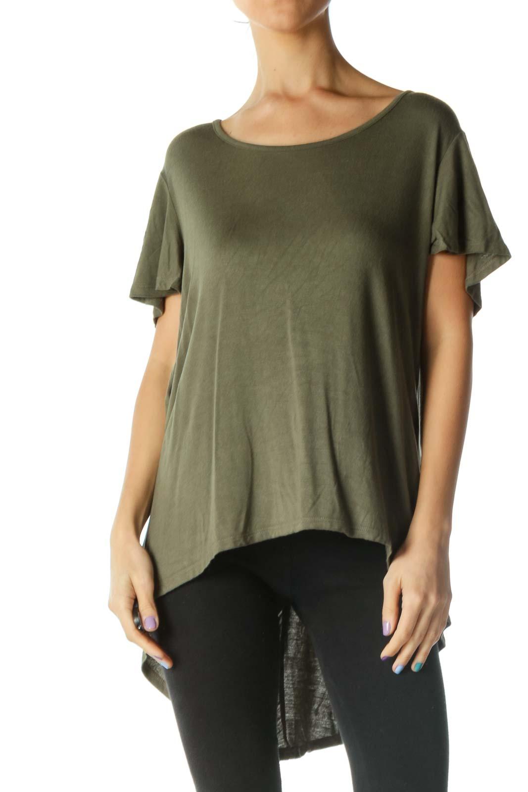 Green Short Sleeve High Low Cutout T-Shirt Front