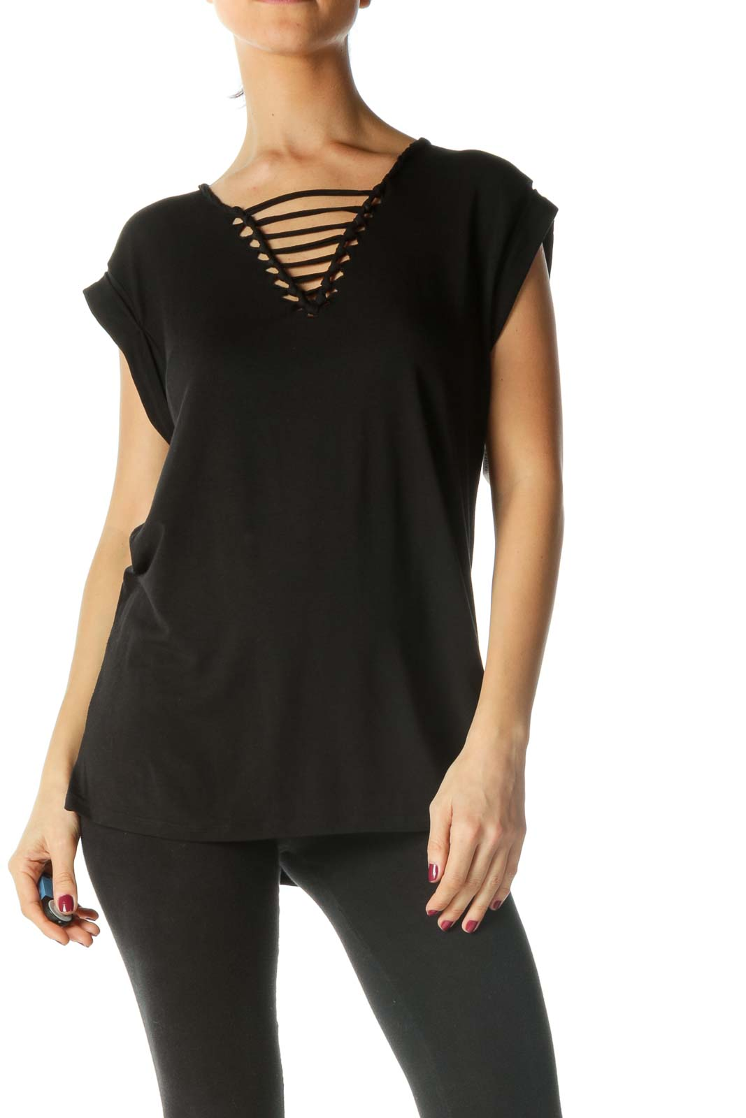 Black V-Neck Design Shirt Front
